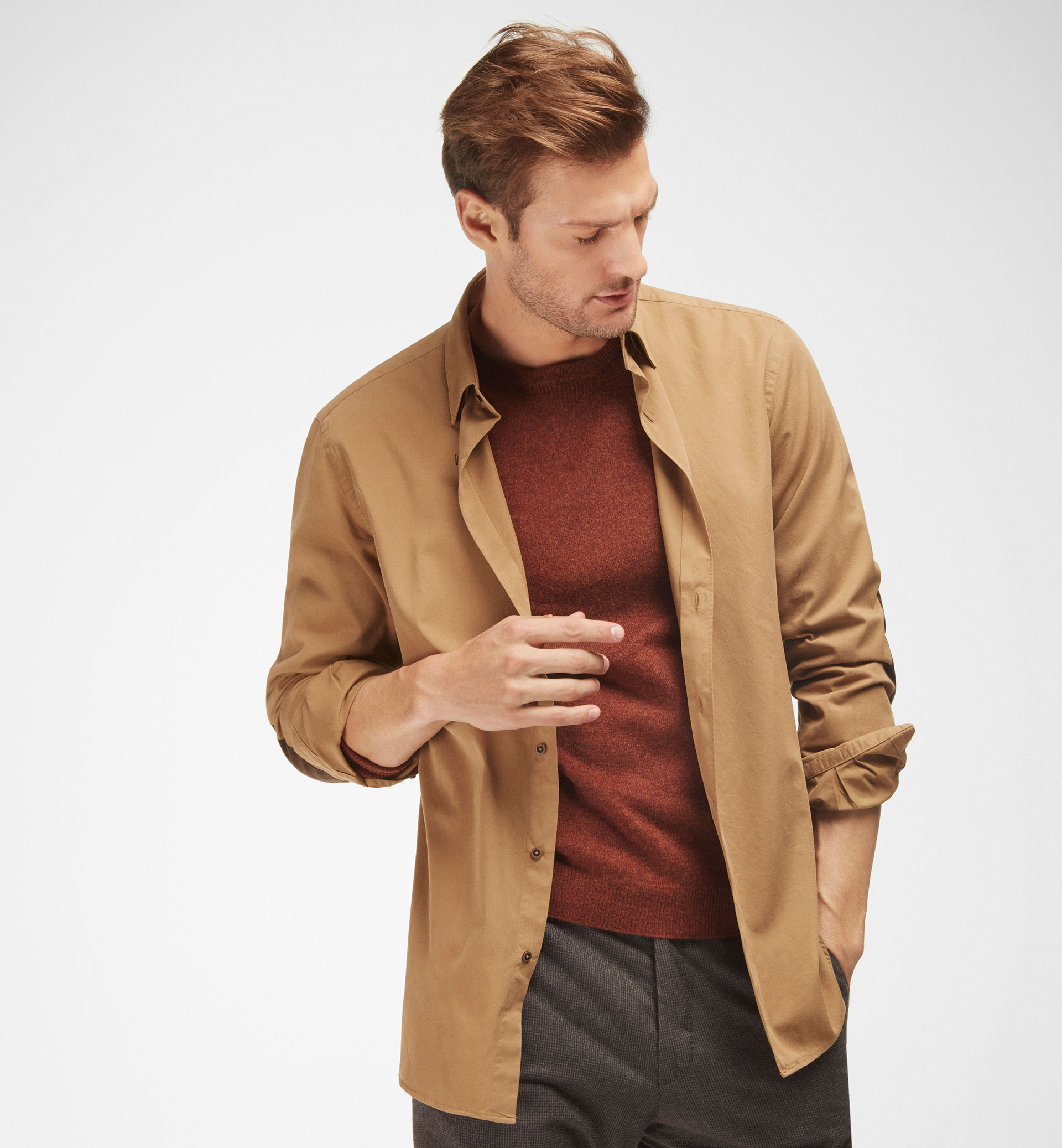 LIGHT BROWN SLIM-FIT SHIRT WITH LEATHER ELBOW PATCHES