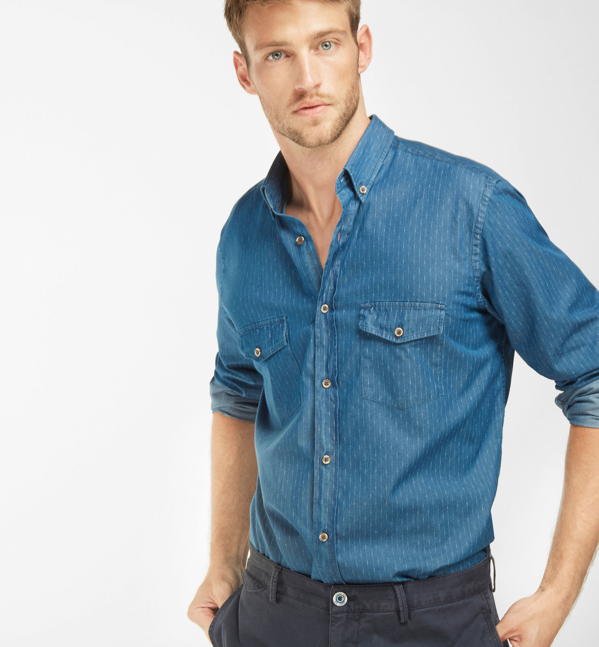 SLIM FIT DENIM SHIRT WITH STRIPE DETAIL