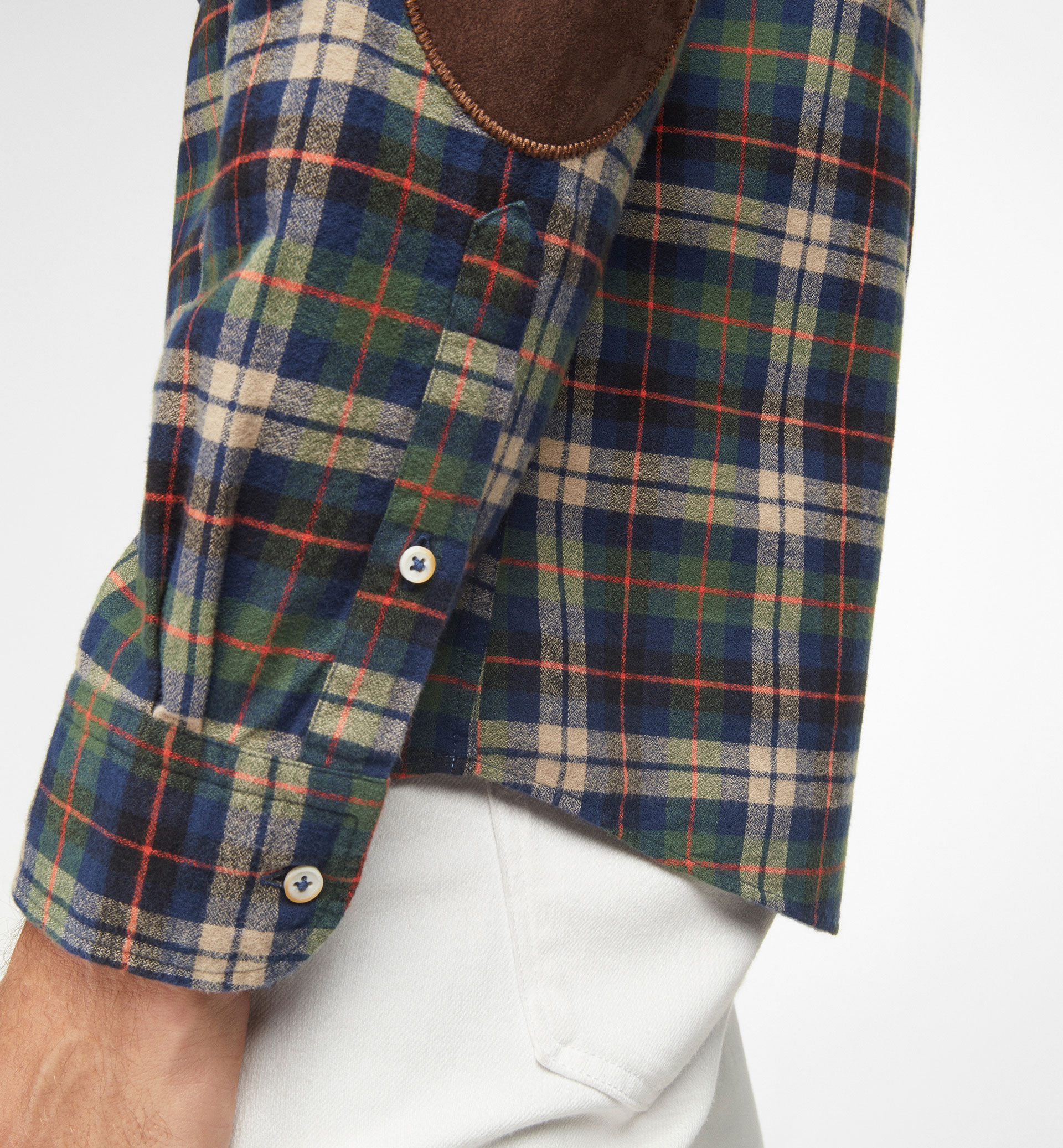 GREEN AND ORANGE CHECKED SHIRT WITH ELBOW PATCHES
