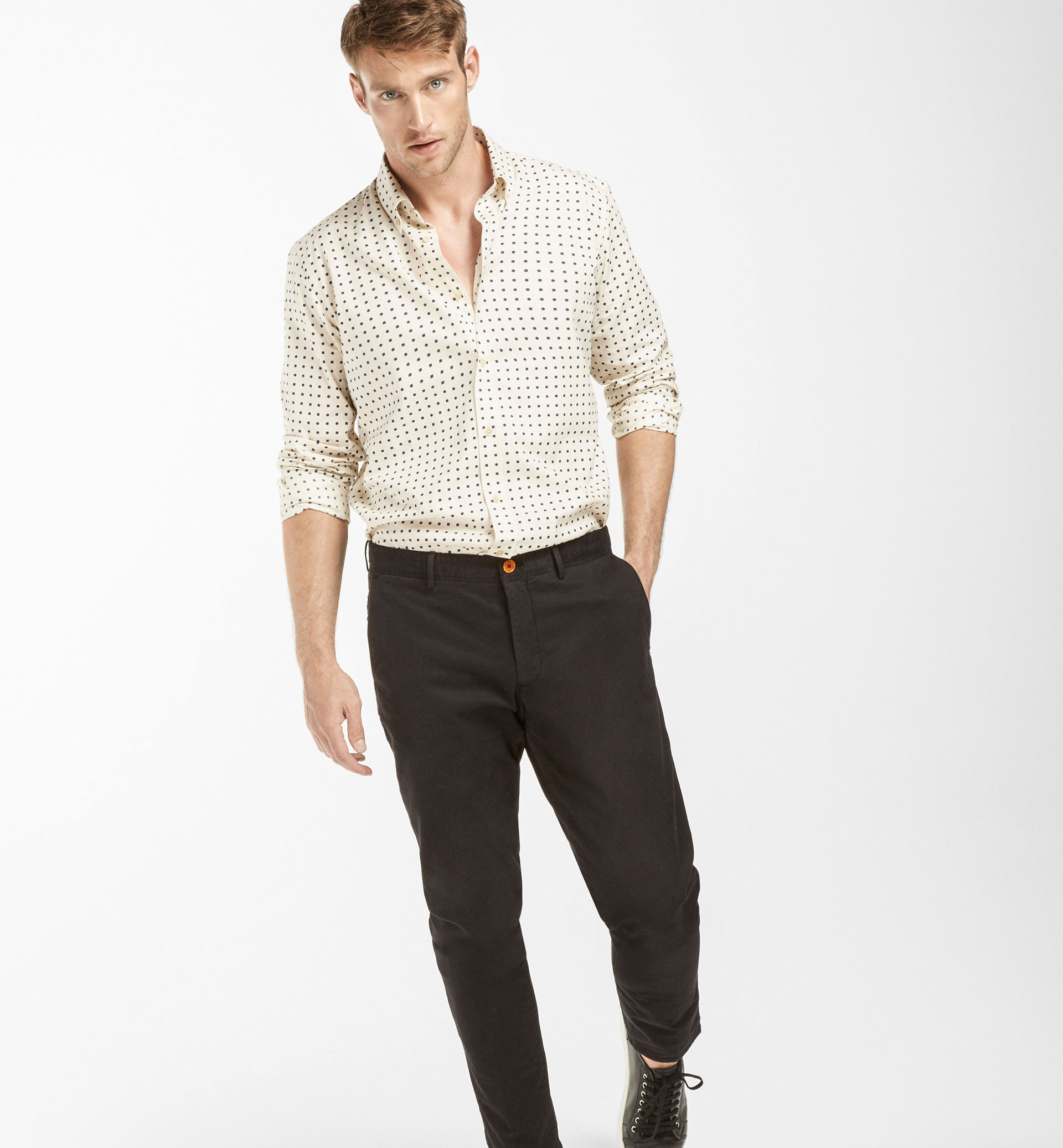 SLIM FIT BEIGE POLKA DOT AND CHECKED SHIRT