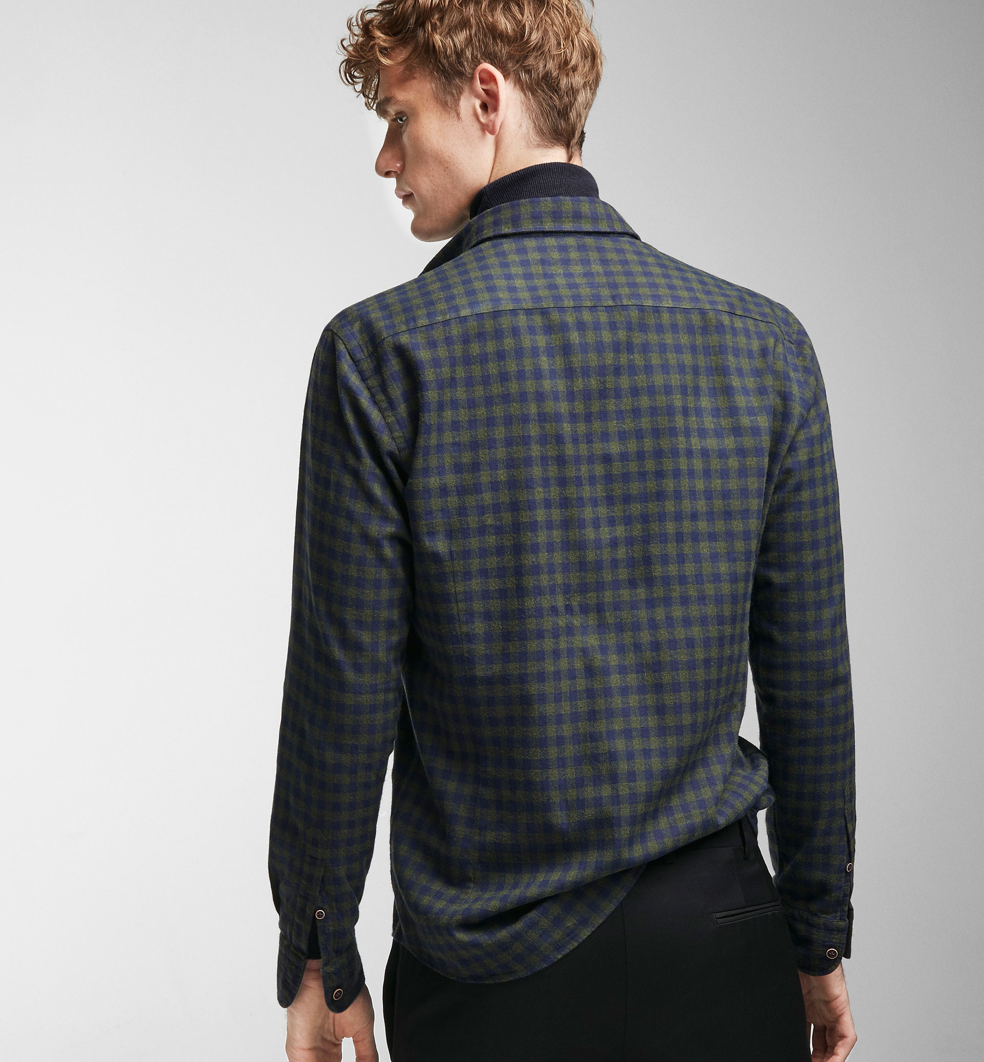 GINGHAM CHECK GREEN AND BLUE SLIM SHIRT