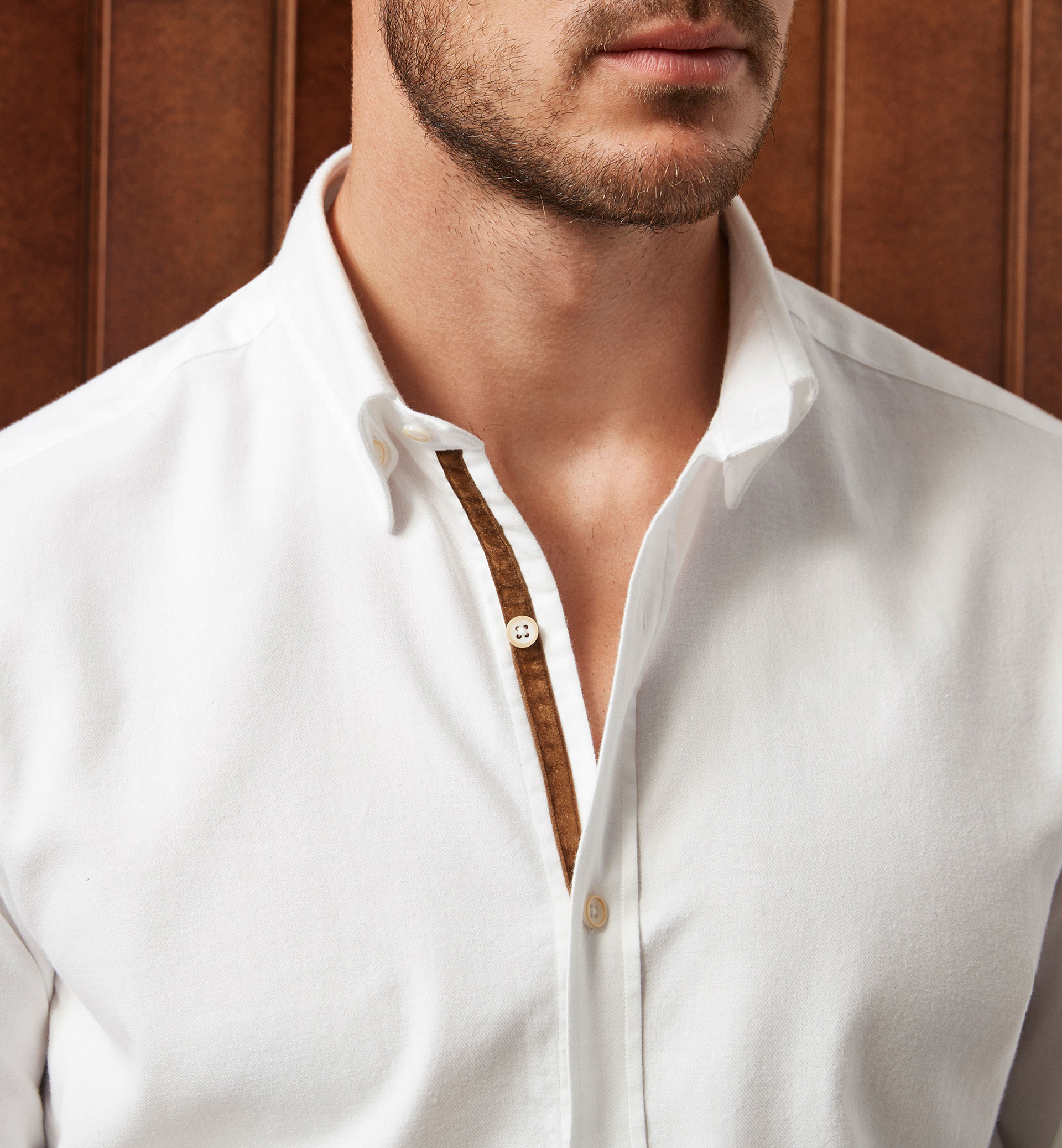 LIMITED EDITION WHITE SHIRT WITH A FAUX-SUEDE DETAIL