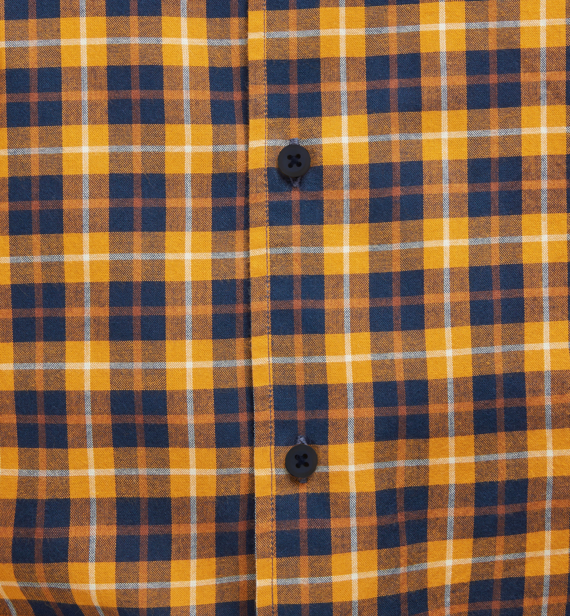 SLIM FIT BLUE AND MUSTARD CHECKED SHIRT