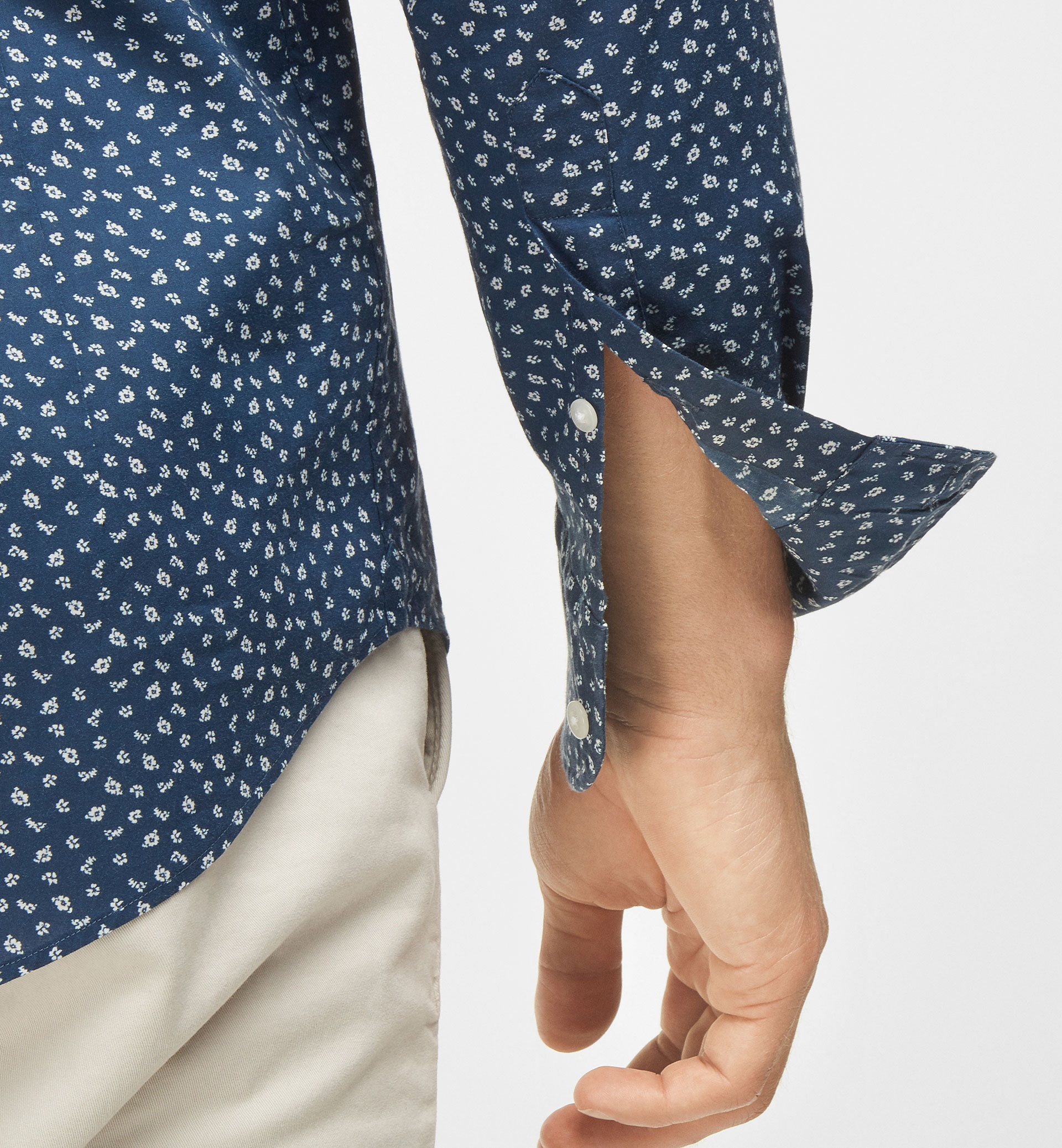 BLUE SLIM-FIT SHIRT WITH FLORAL PRINT