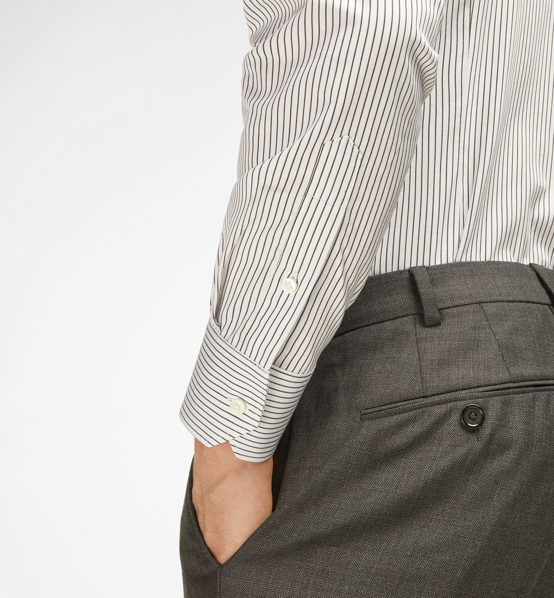 SLIM STRIPED TWILL SHIRT