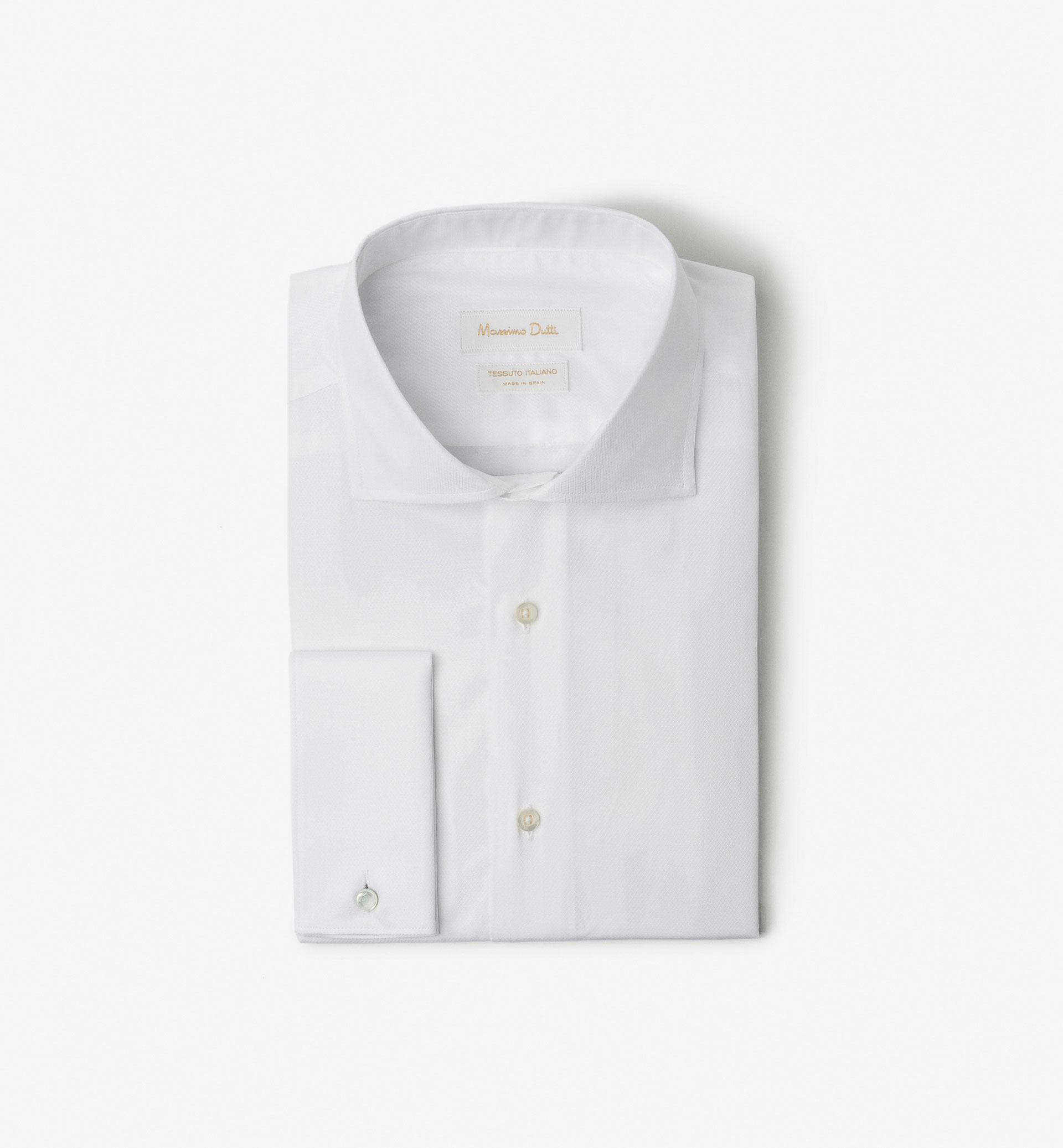 SLIM FIT PLAIN SHIRT WITH MICRO-TEXTURED WEAVE AND TURN-BACK CUFFS