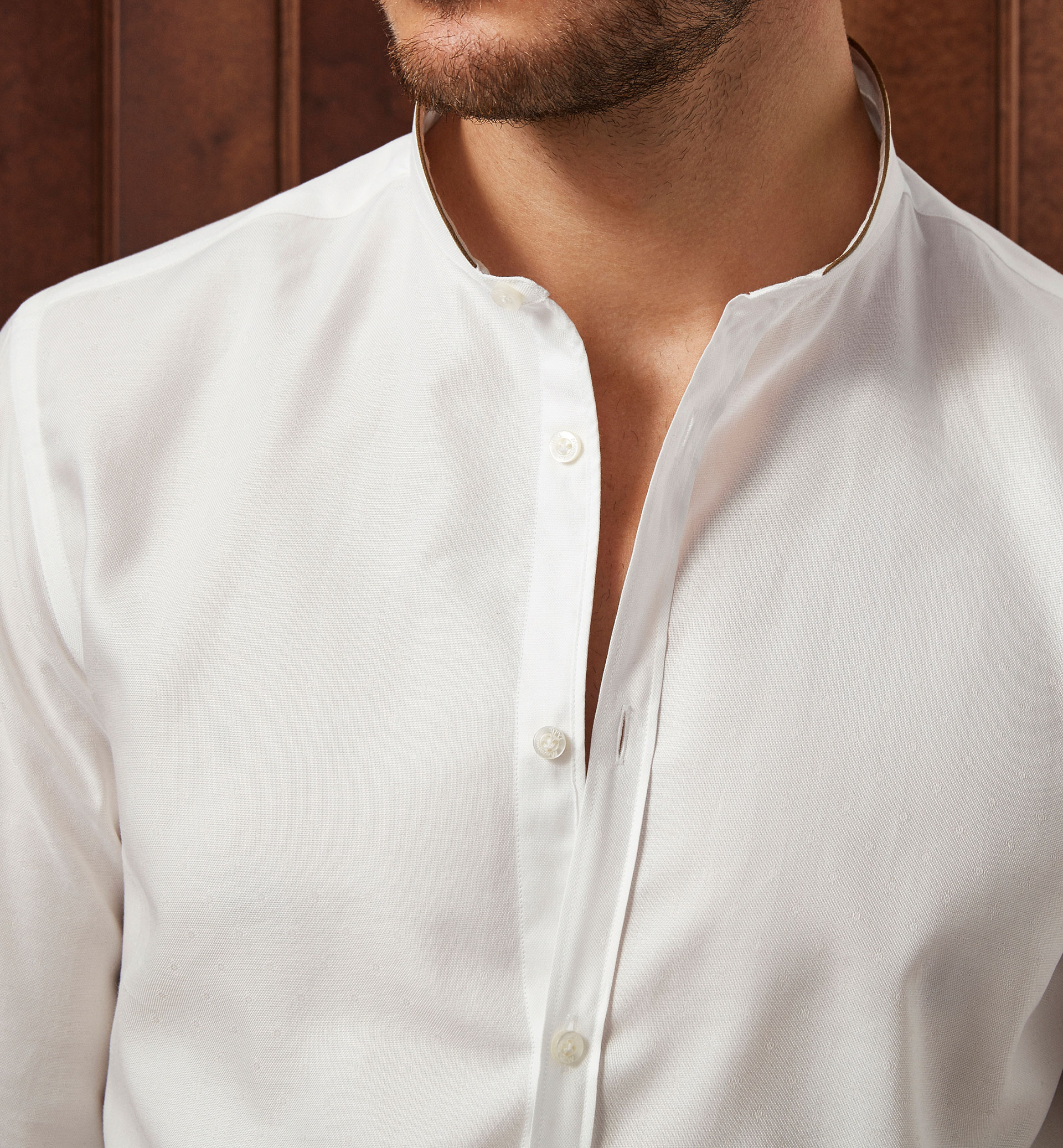 LIMITED EDITION PLAIN SHIRT WITH A TEXTURED WEAVE
