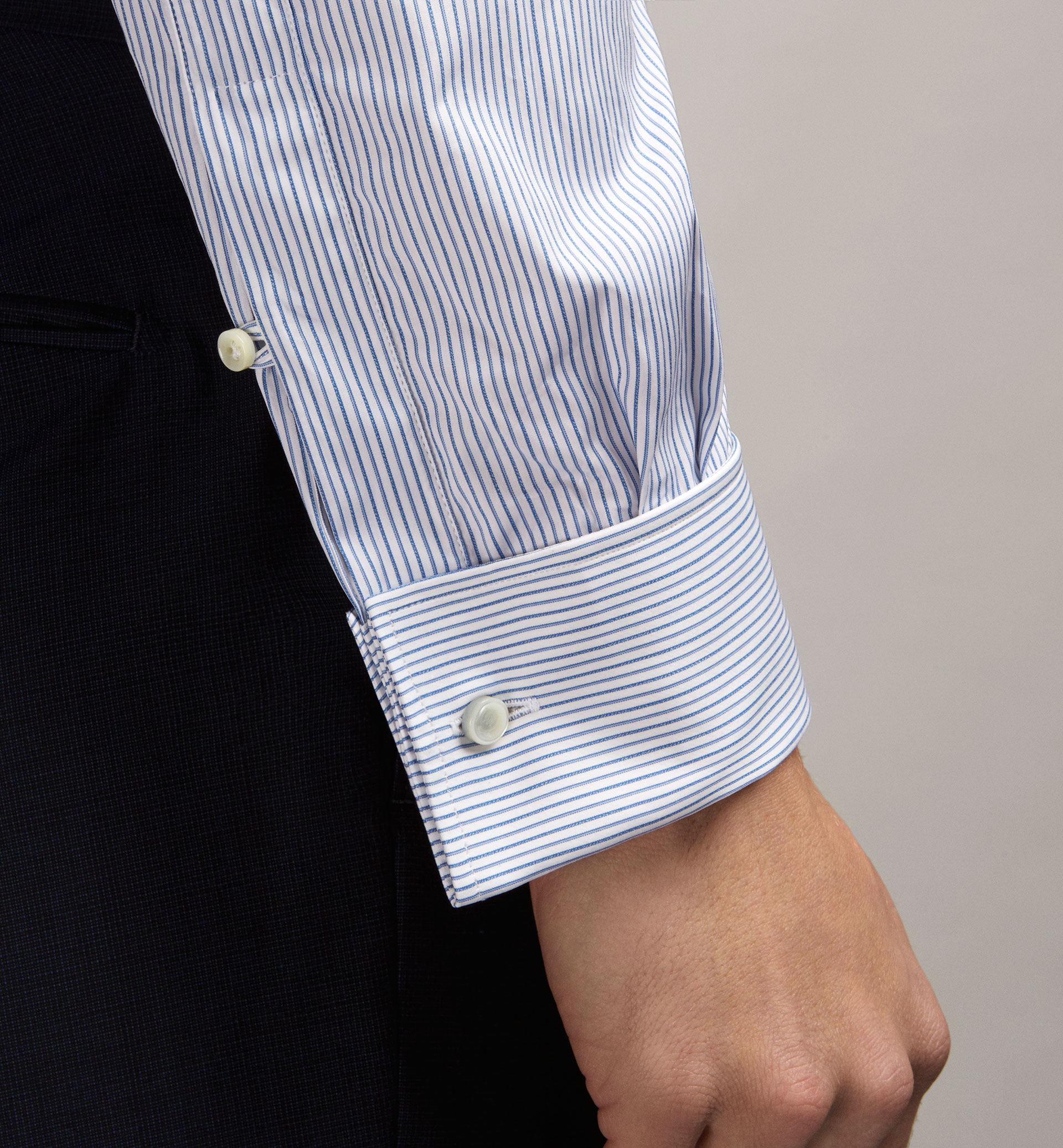SLIM FIT FINE STRIPED SHIRT WITH TURN-BACK CUFFS