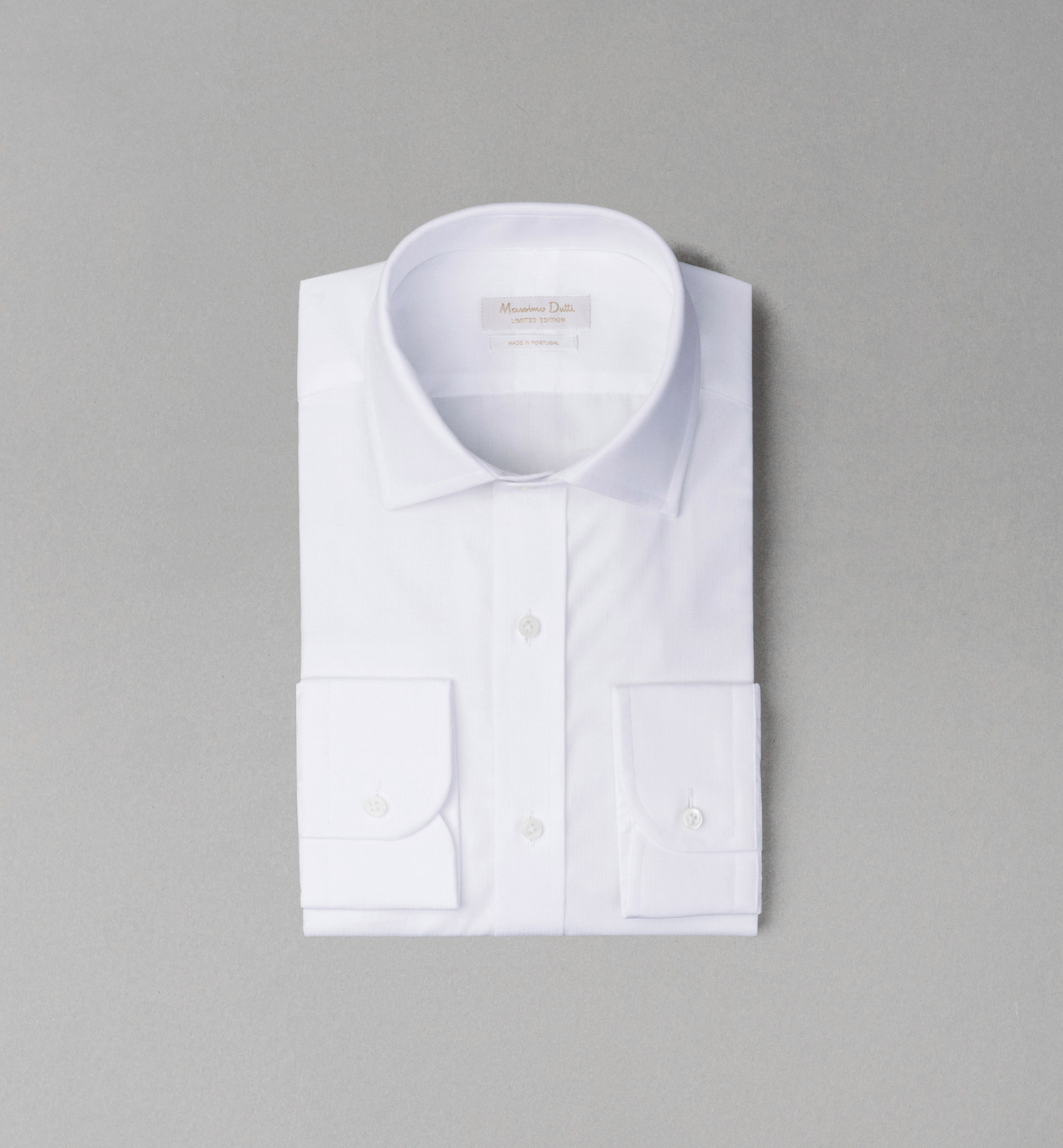 PERSONAL TAILORING WHITE TEXTURED WEAVE SHIRT WITH CUFFLINKS