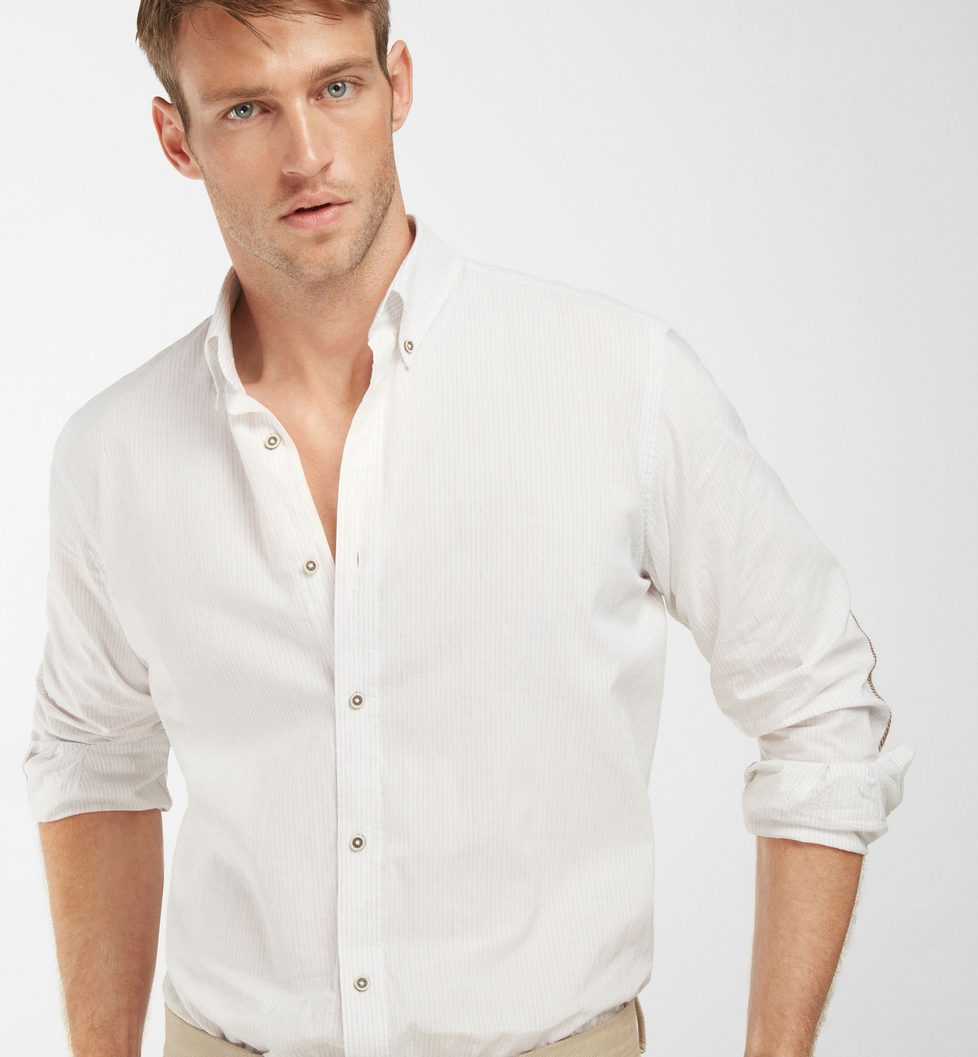 SLIM FIT BEIGE STRIPED SHIRT WITH HERRINGBONE ELBOW PATCHES