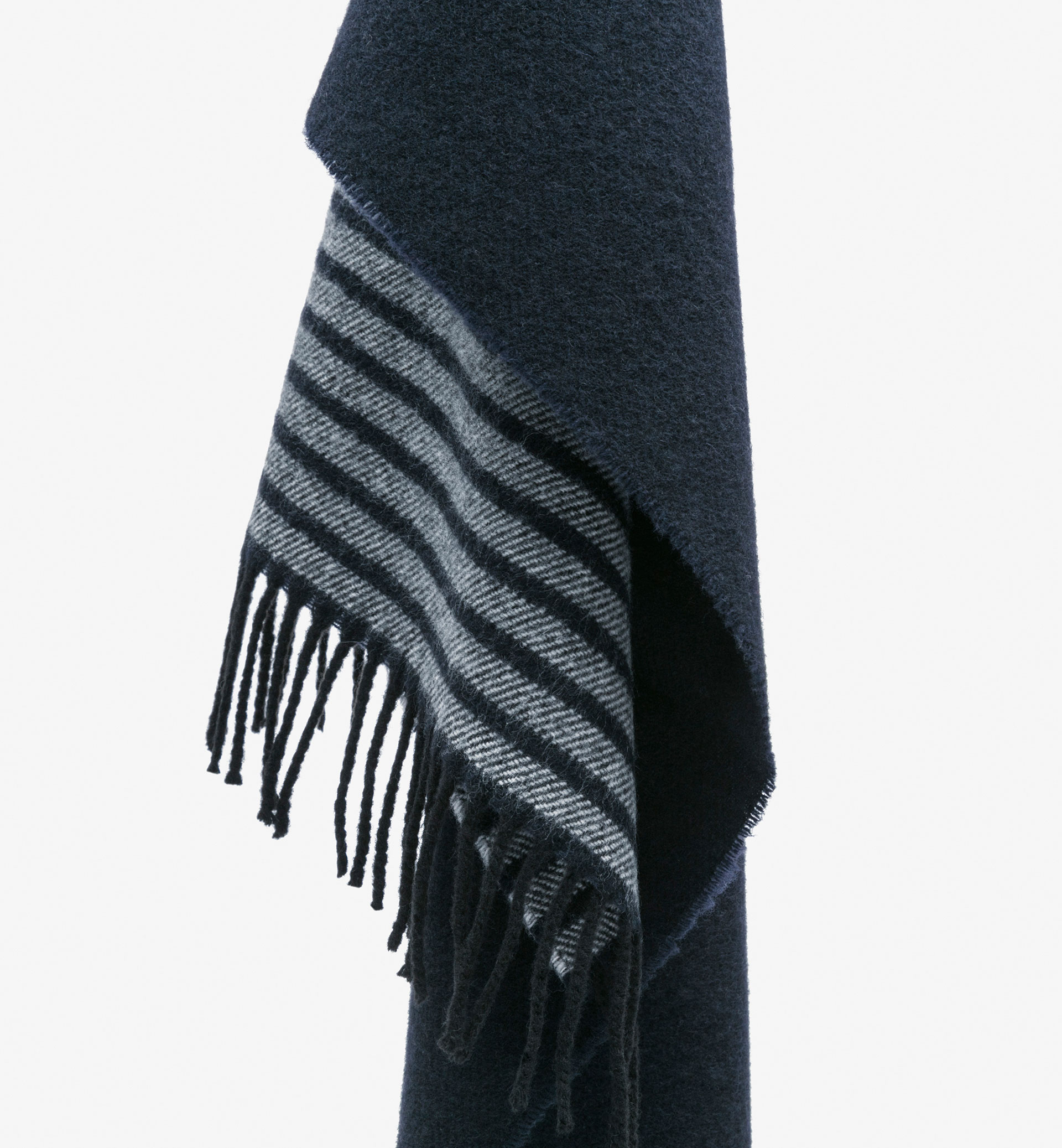 BLUE STRIPED WOOL SCARF