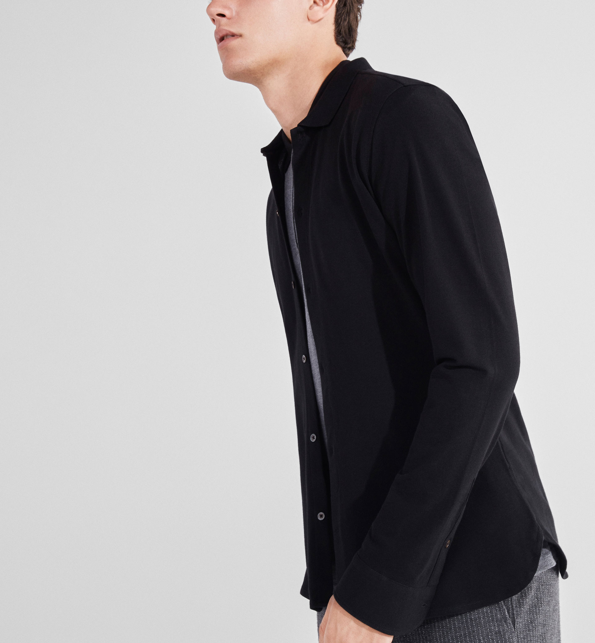 SOFT SLIM-FIT PLAIN STITCH SHIRT