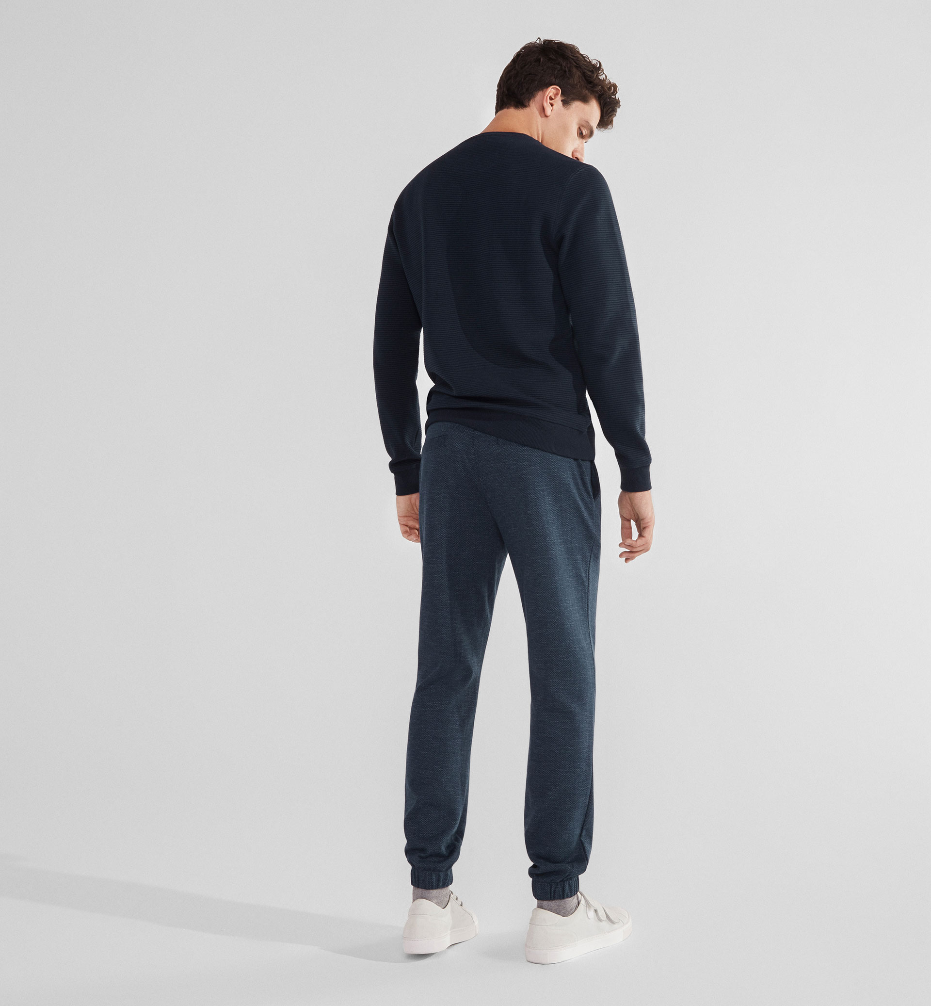 SOFT HERRINGBONE JOGGING TROUSERS