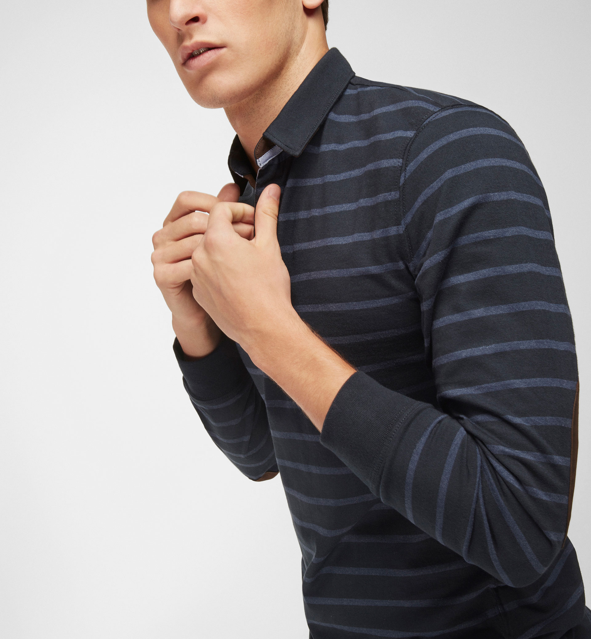 STRIPED POLO SHIRT WITH ELBOW PATCHES