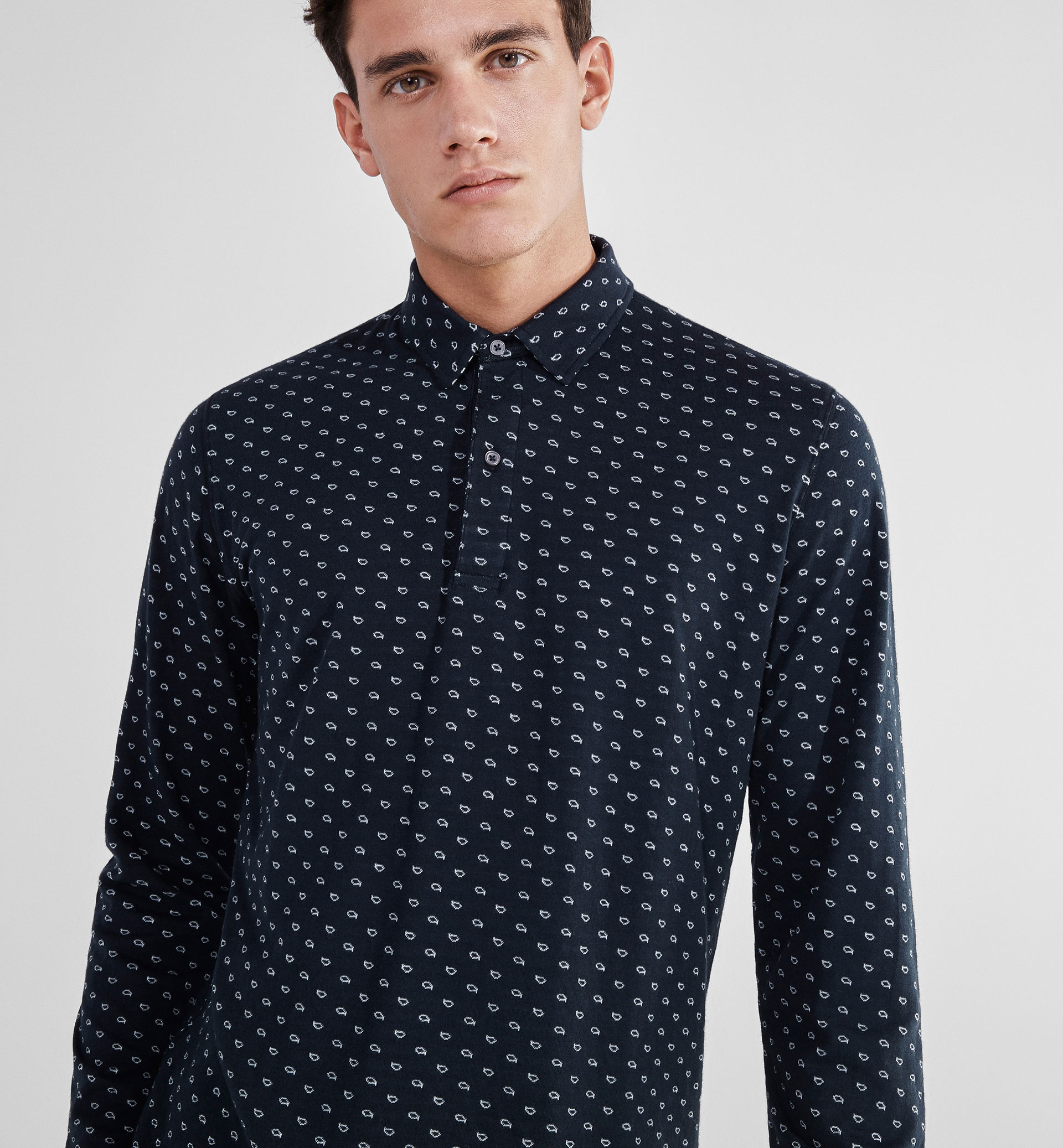 SOFT POLO SHIRT WITH A DOUBLE-FABRIC DETAIL