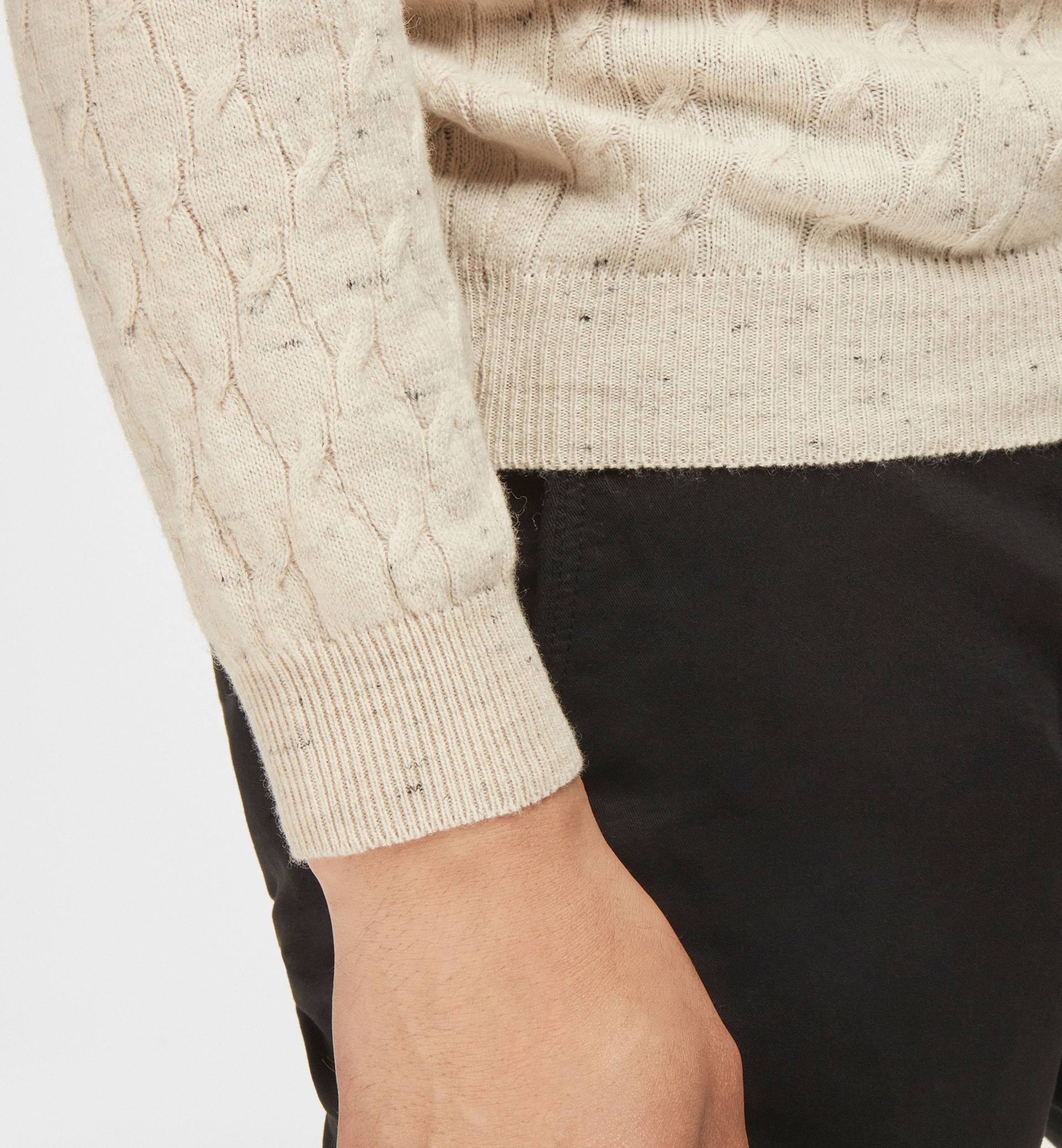 CABLE KNIT DETAIL FLECKED SWEATER