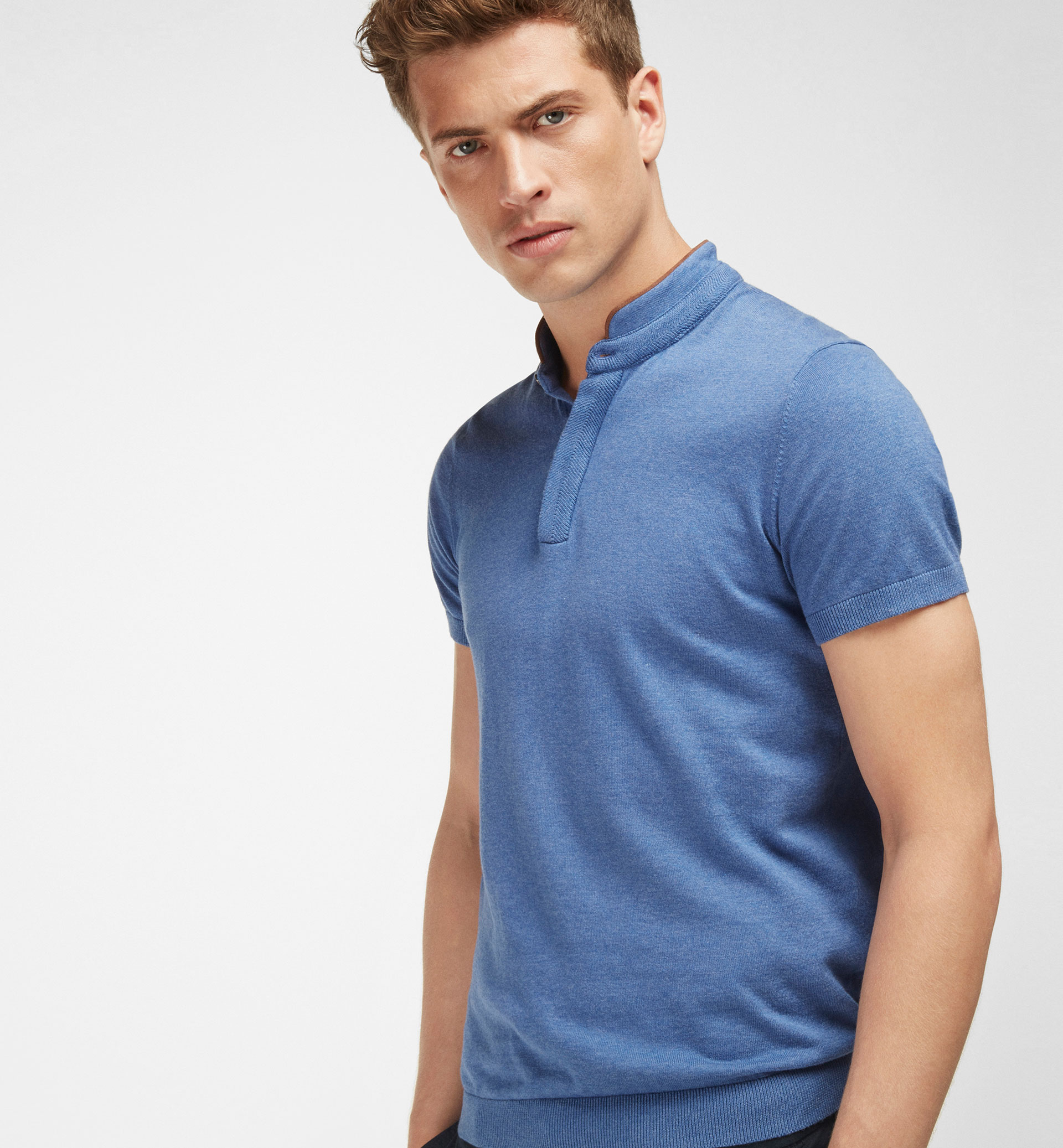 MANDARIN COLLAR TRICOT POLO SHIRT