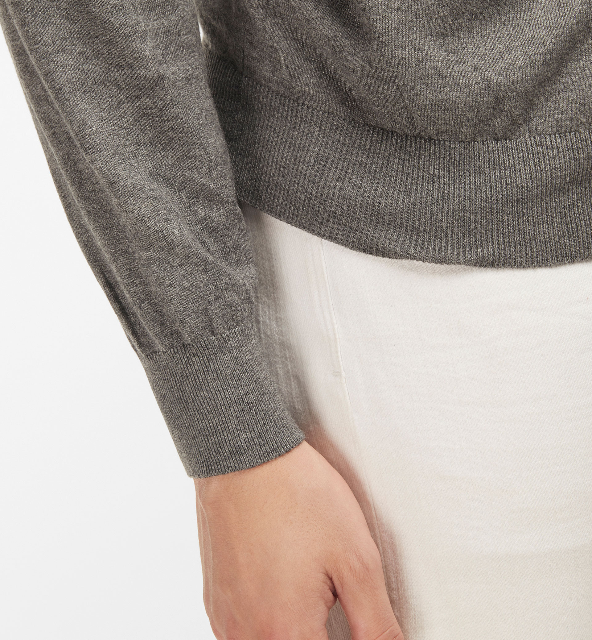 ROUND NECK SWEATER WITH ELBOW PATCHES