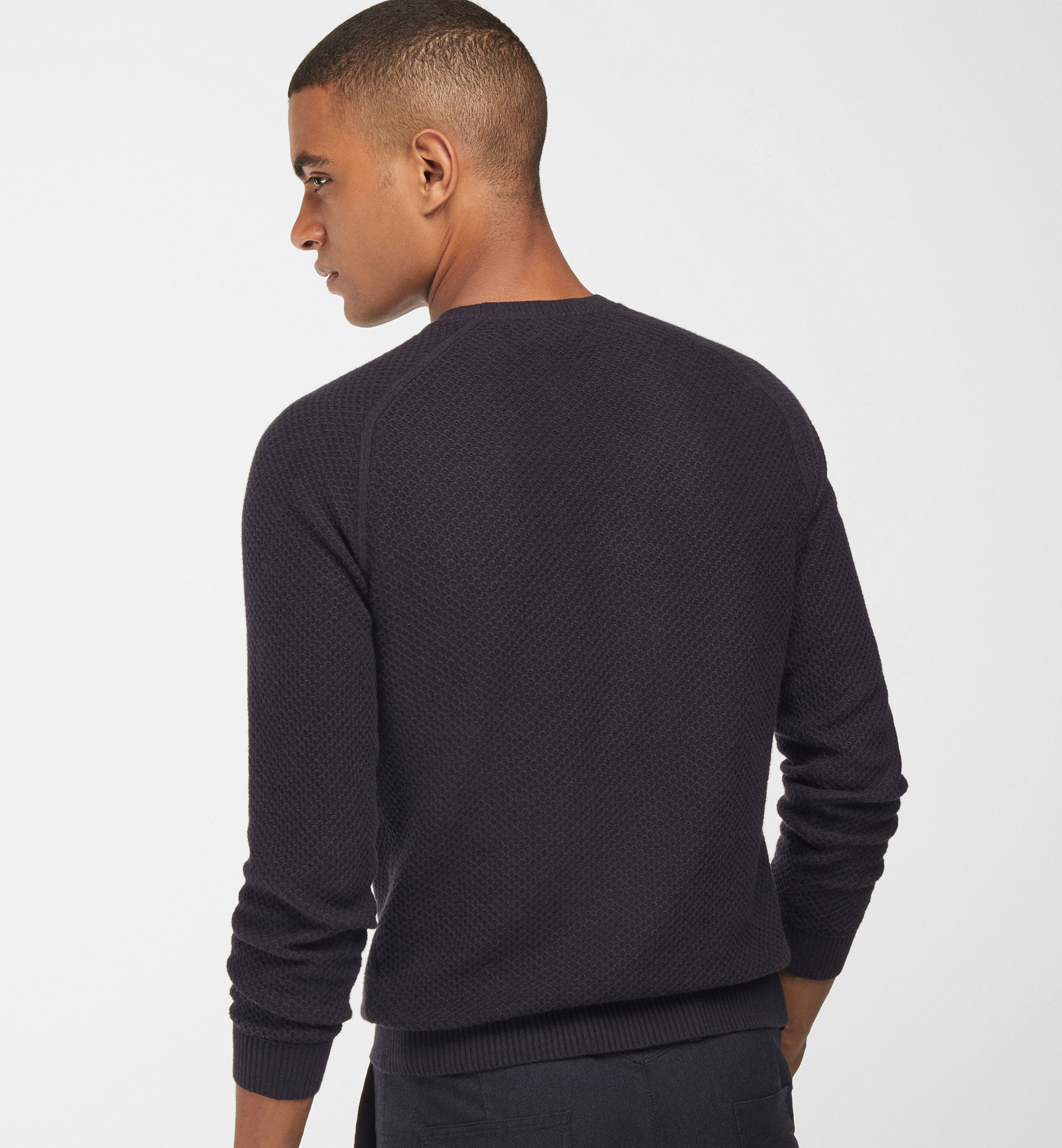 ROUND NECK TEXTURED WEAVE SWEATER