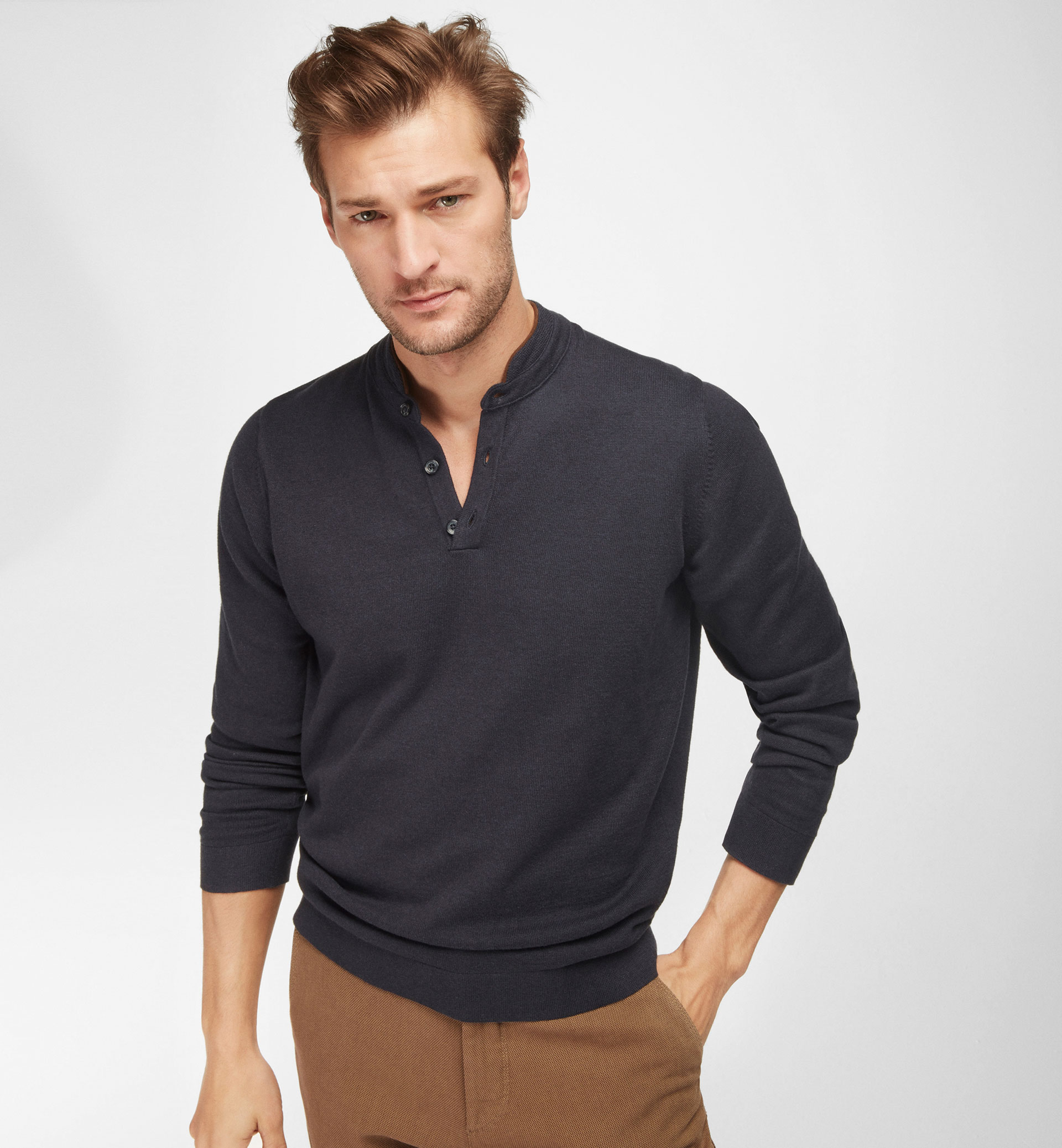 MANDARIN COLLAR SWEATER WITH LEATHER DETAIL
