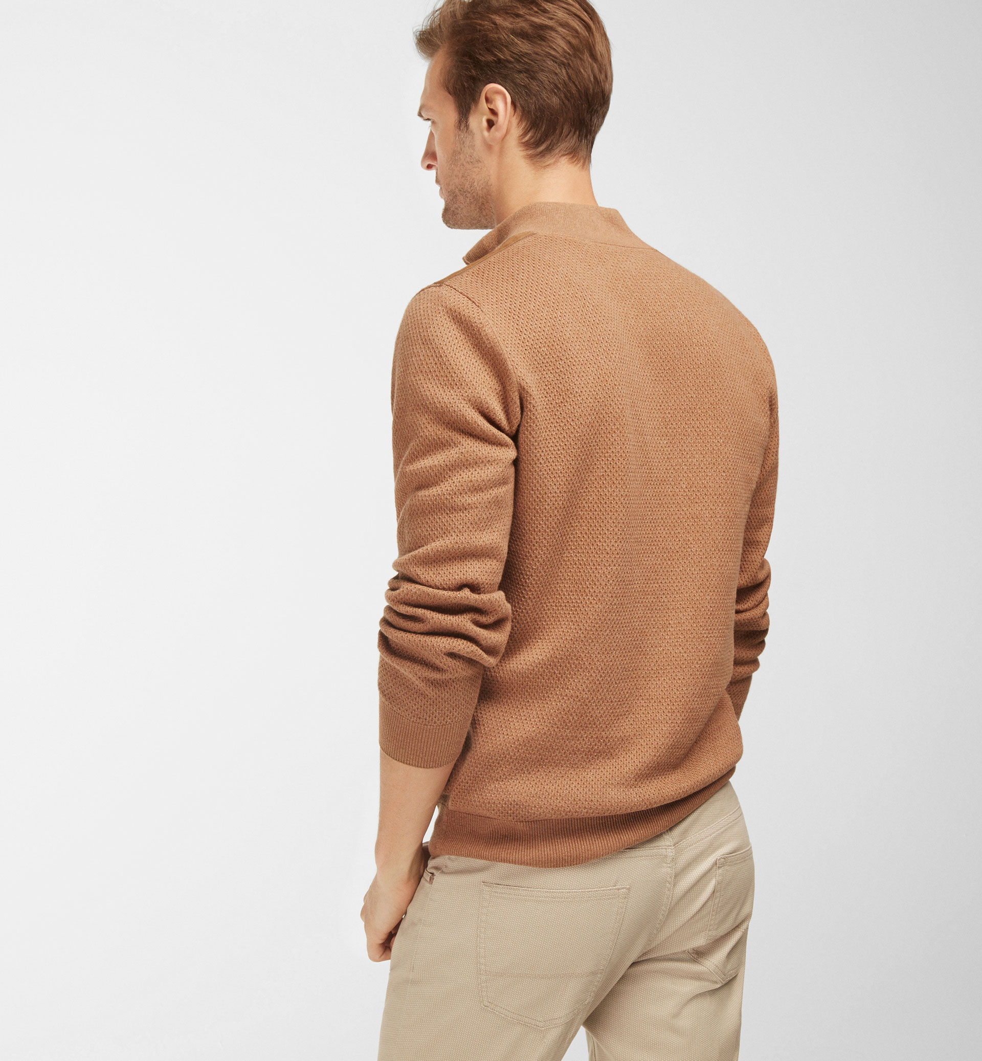 SWEATER WITH LEATHER DETAILING
