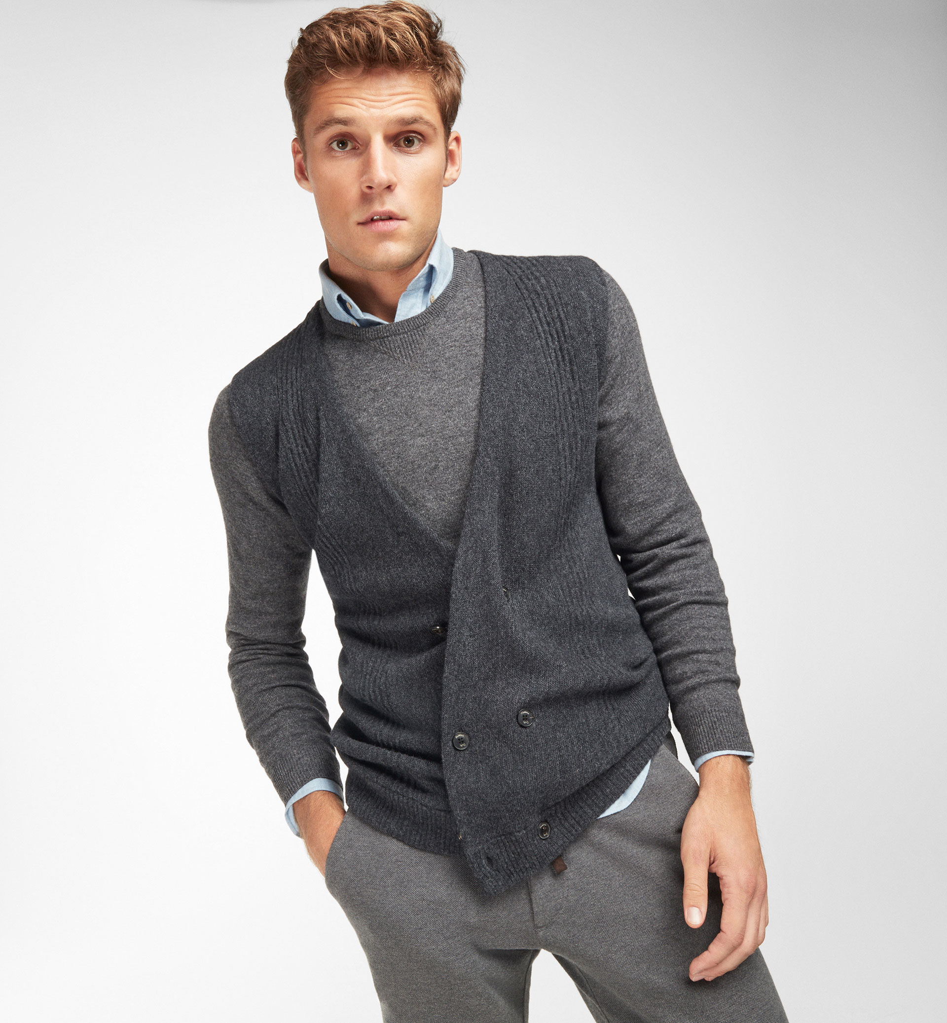 DOUBLE BREASTED KNIT WAISTCOAT