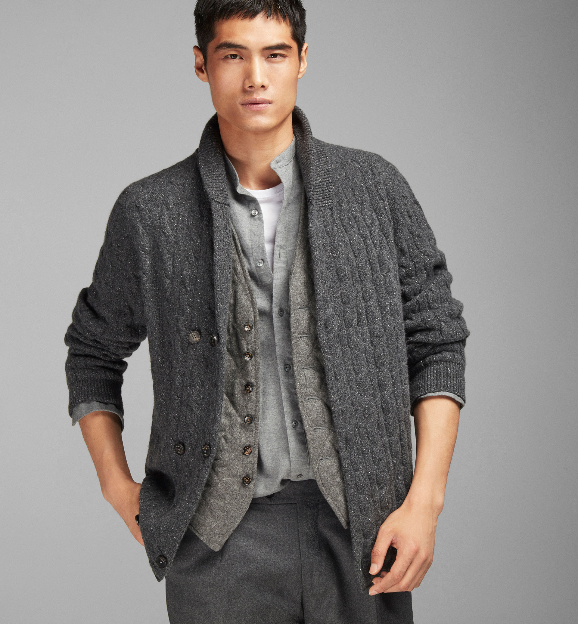 CABLE KNIT DOUBLE BREASTED CARDIGAN
