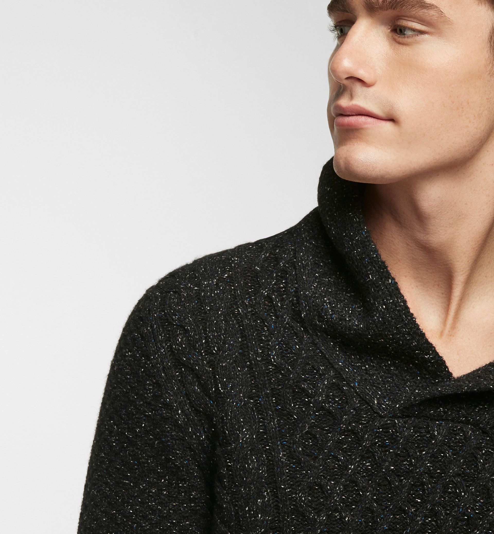 TEXTURED WEAVE SHAWL COLLAR SWEATER