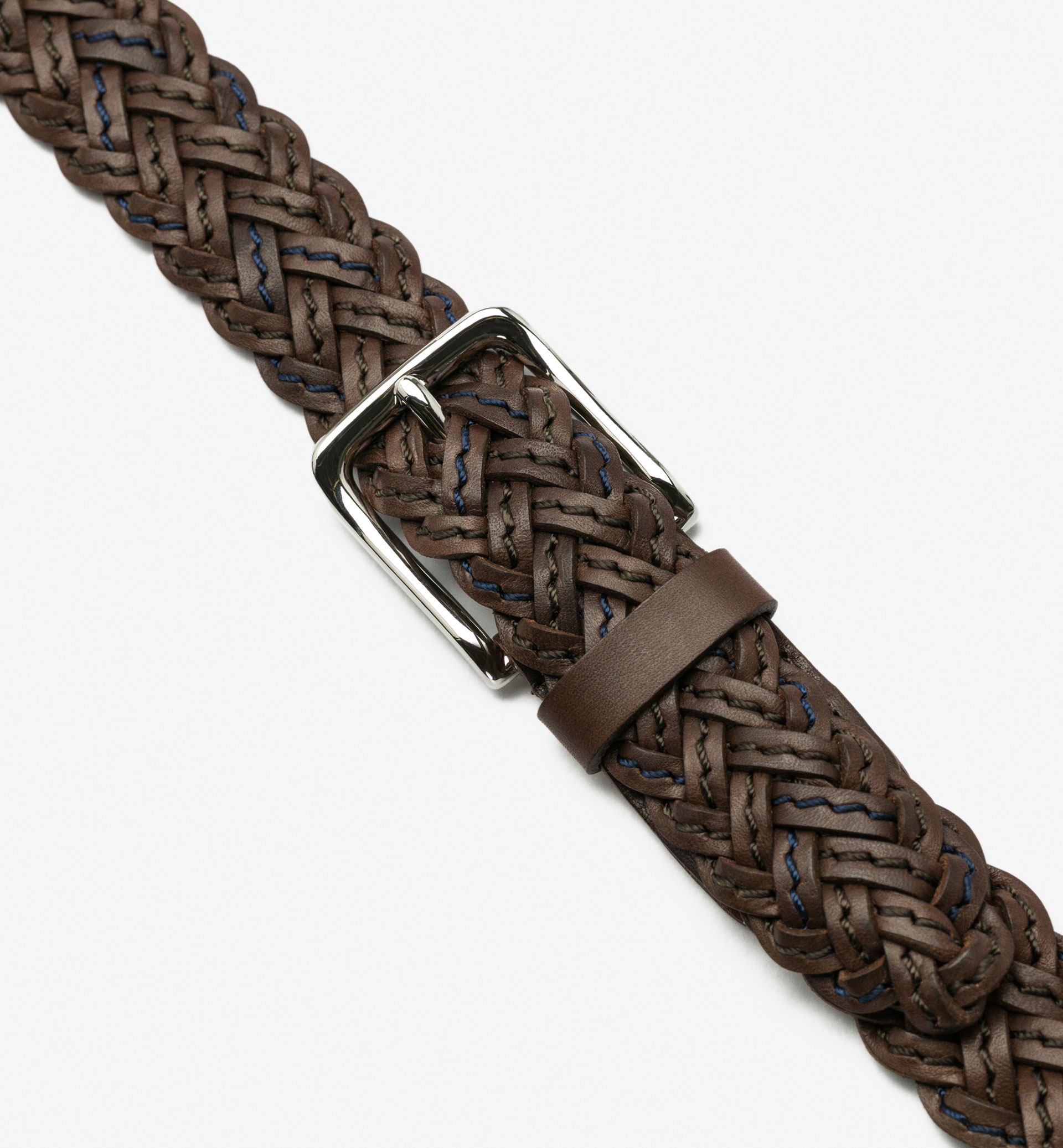 BRAIDED BELT WITH TOPSTITCHING DETAIL