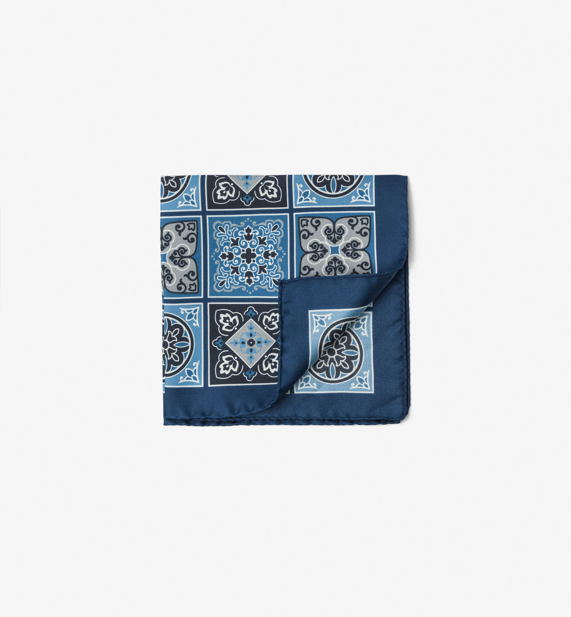 CHECK PRINT SILK POCKET SQUARE WITH MOTIF
