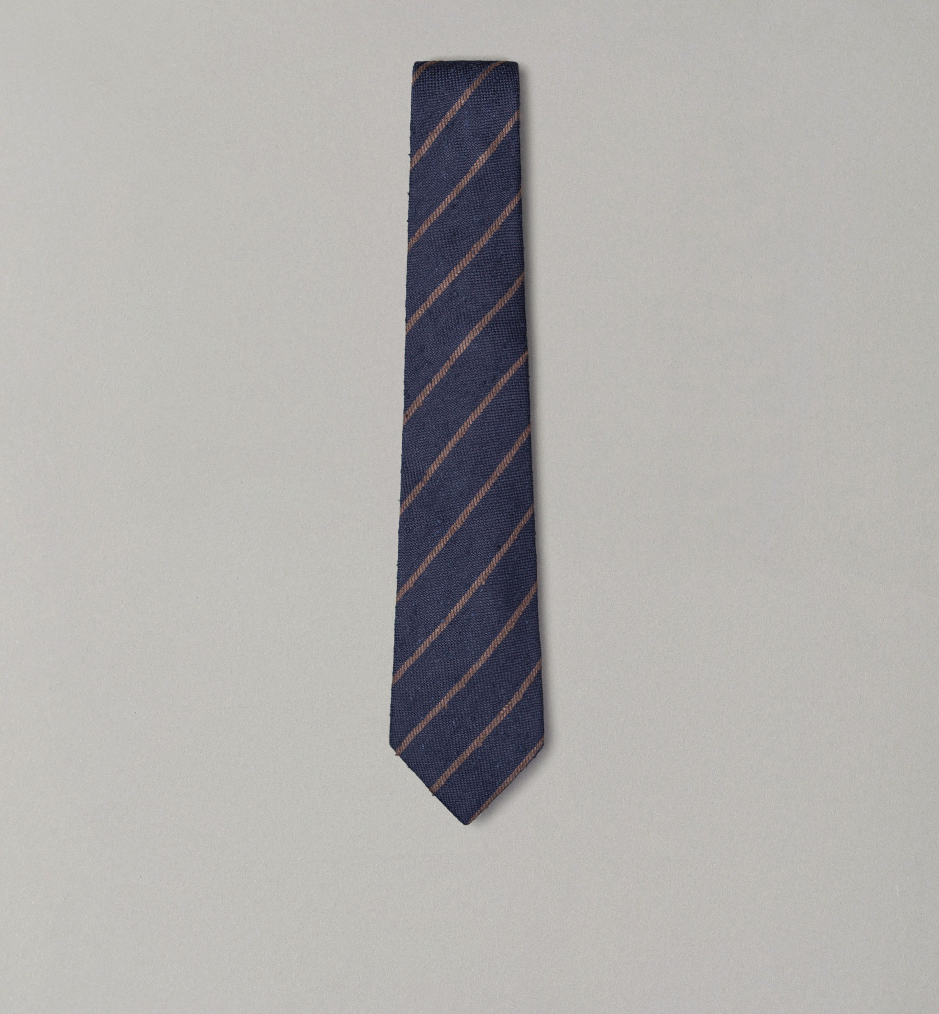 PERSONAL TAILORING BROWN STRIPED RUSTIC TIE