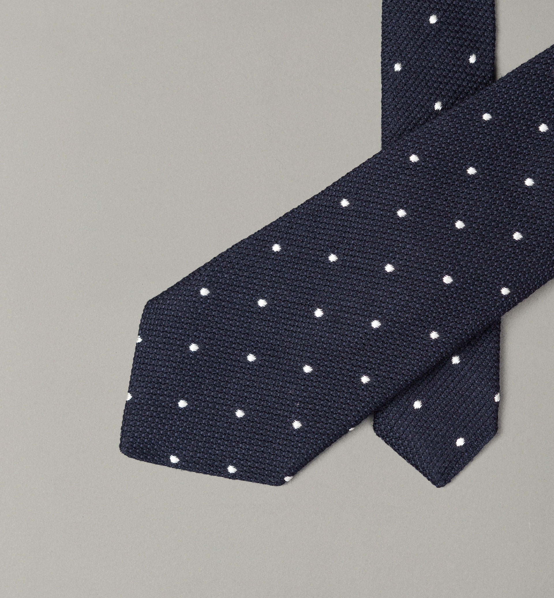 PERSONAL TAILORING NAVY BLUE POLKA DOT TEXTURED WEAVE TIE