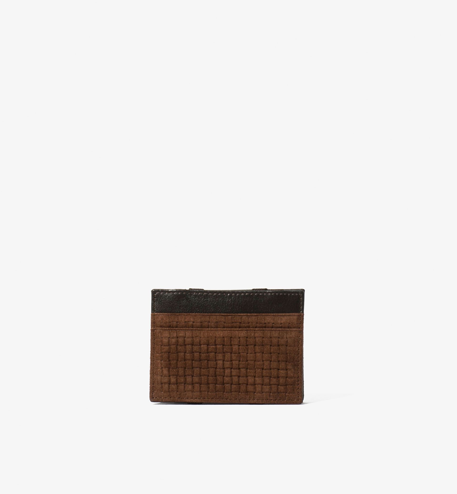 BRAIDED LEATHER CARD HOLDER