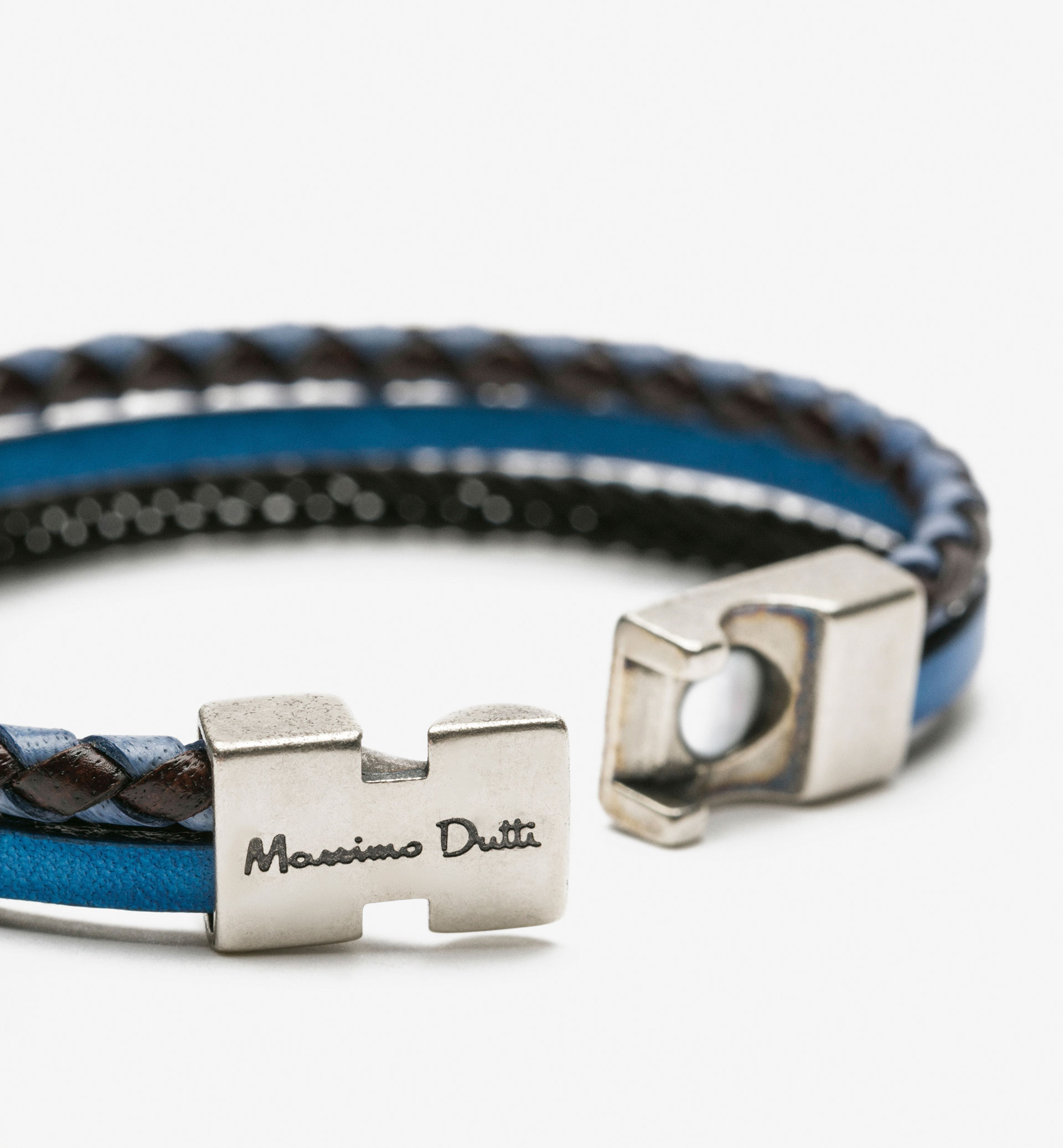 BLUE PLAITED TUBULAR BRACELET