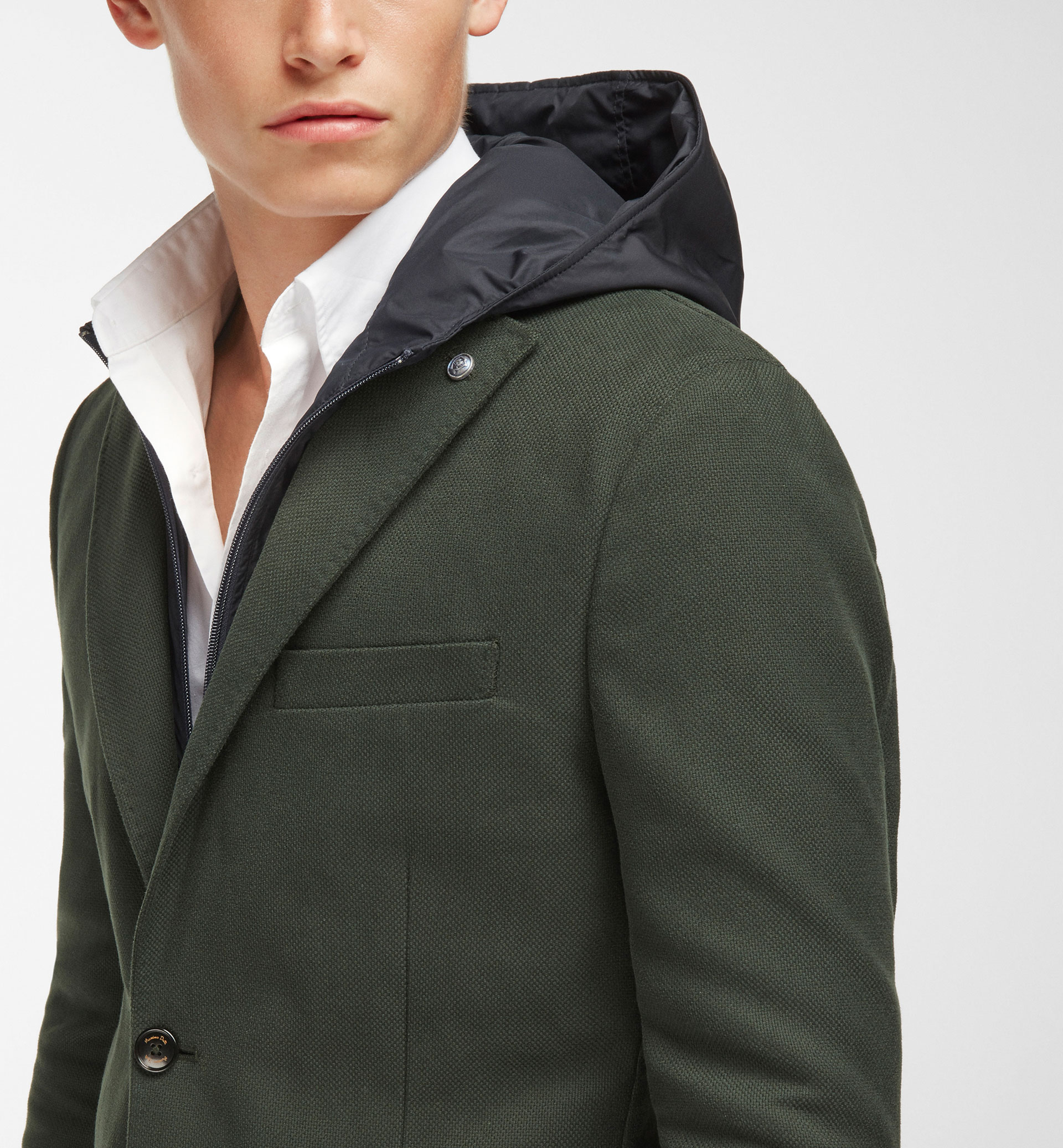COTTON BLAZER WITH DETACHABLE HOOD