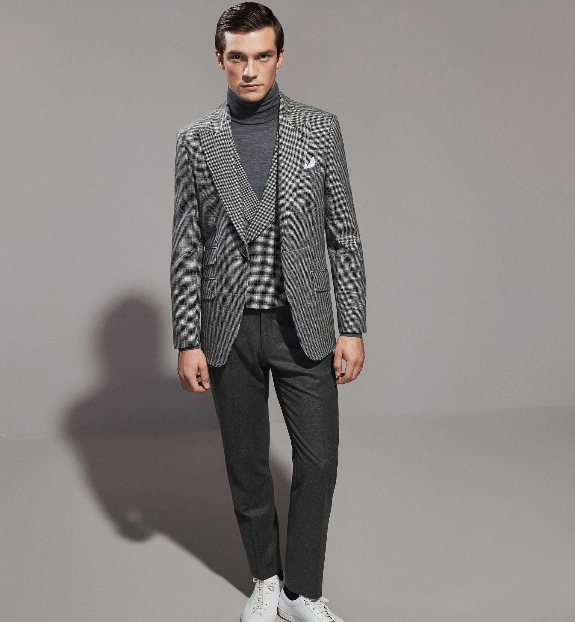 PERSONAL TAILORING HOUNDSTOOTH WOOL BLAZER