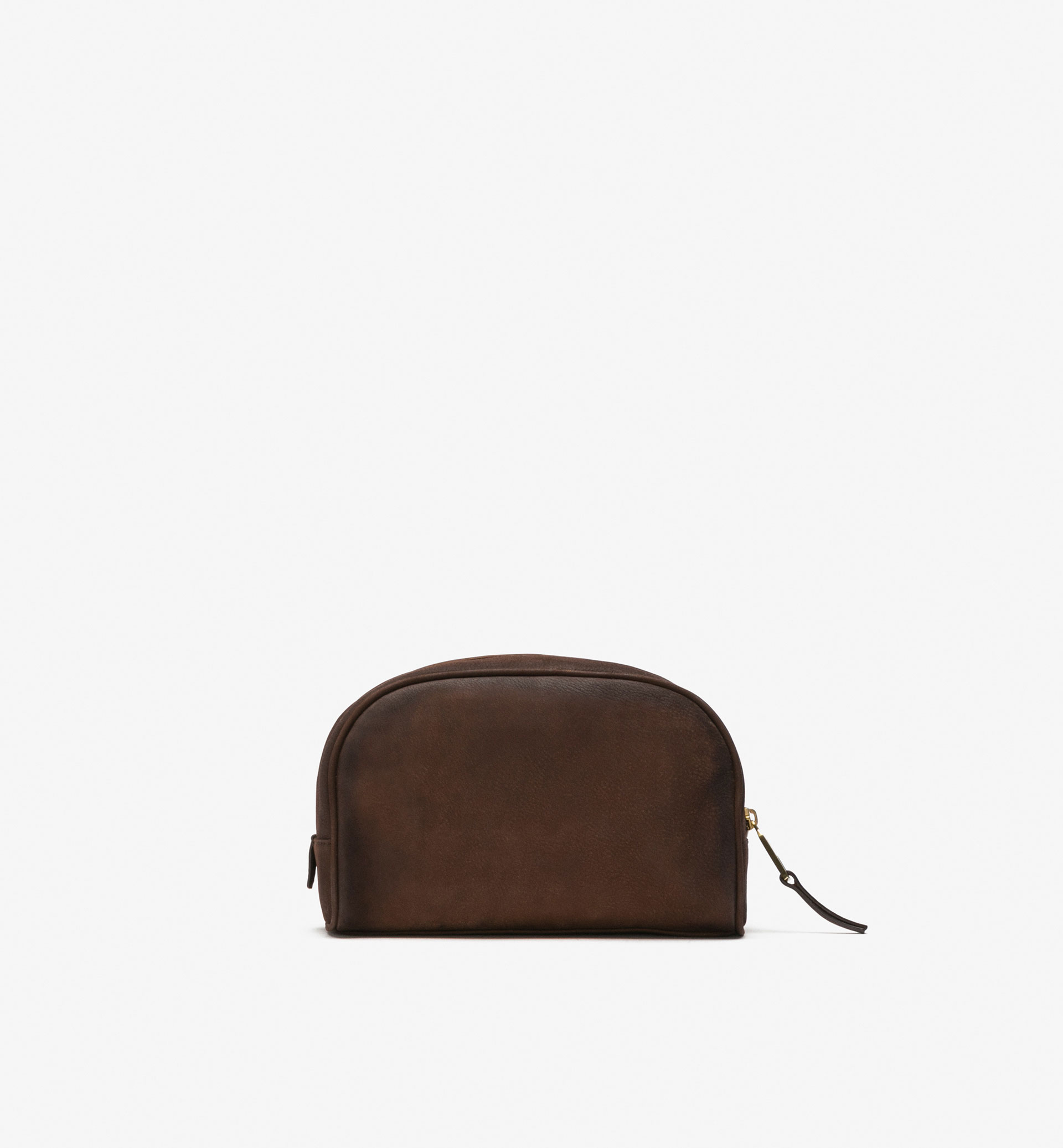 BROWN NUBUCK TOILETRY BAG
