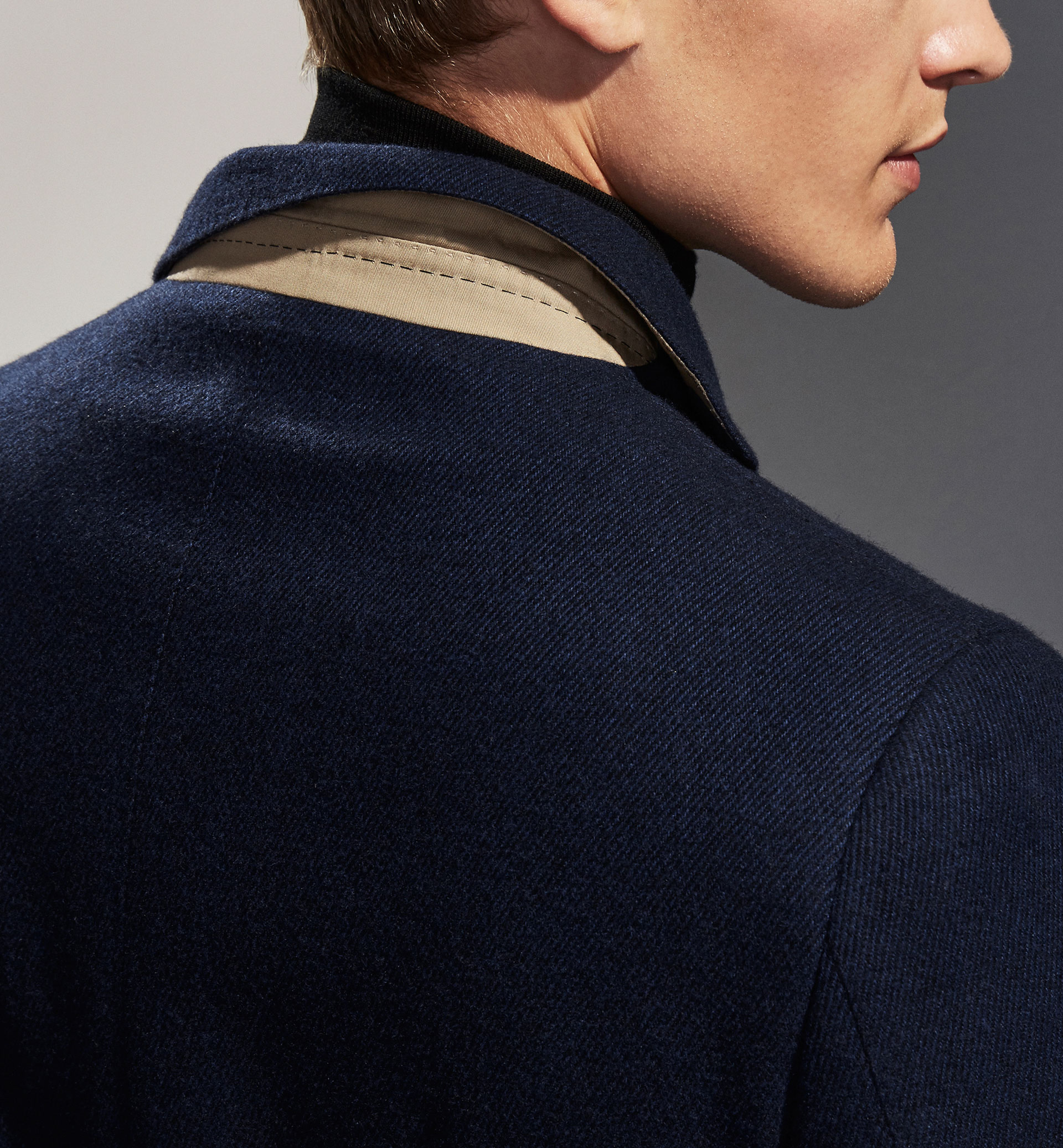PERSONAL TAILORING NAVY BLUE TWILL COAT