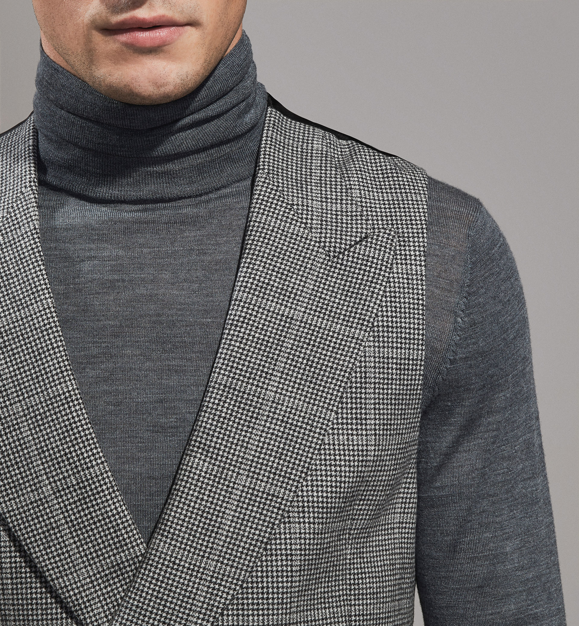 PERSONAL TAILORING HOUNDSTOOTH WOOL WAISTCOAT