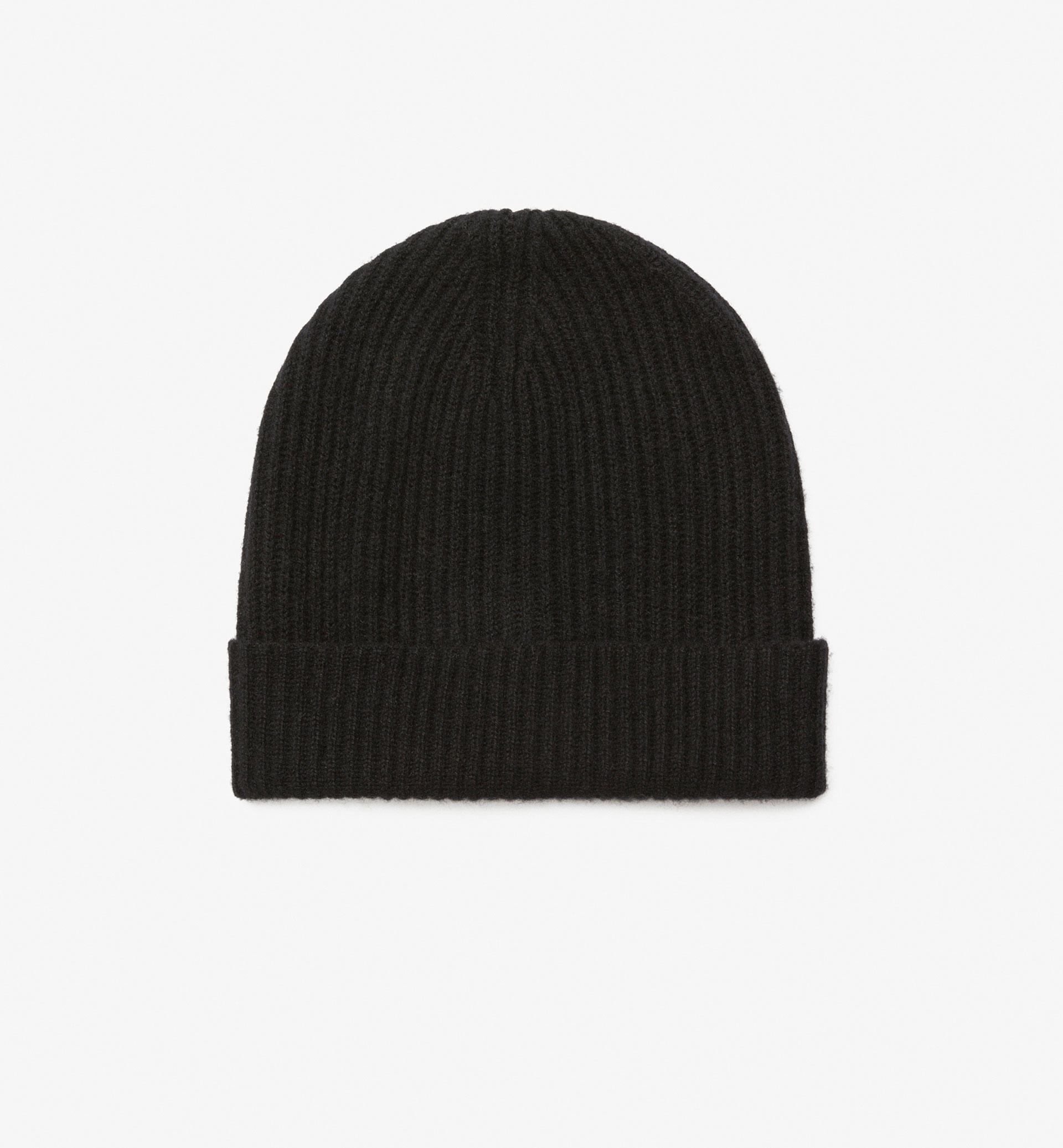 WOOL HAT WITH RIB KNIT DETAIL
