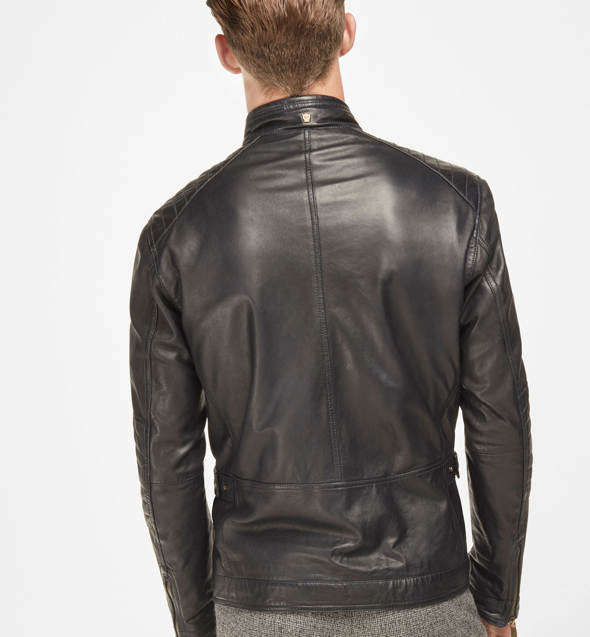 BLUE NAPPA LEATHER BIKER JACKET