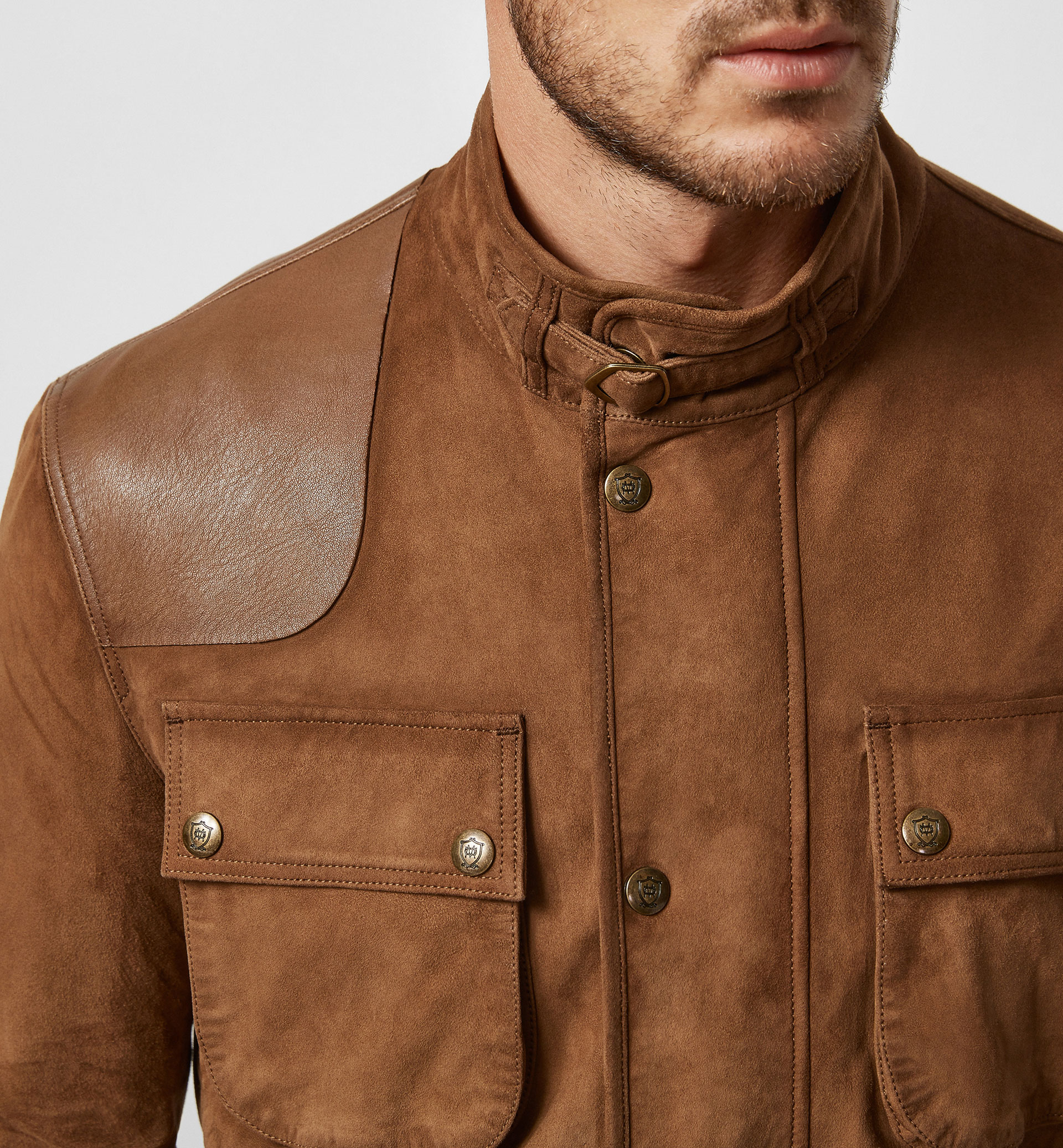 SUEDE PARKA WITH EQUESTRIAN SHOULDER DETAIL