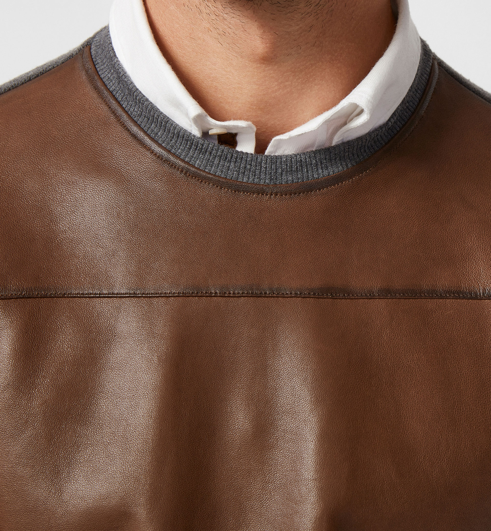 LIMITED EDITION COMBINED NAPPA LEATHER SWEATSHIRT