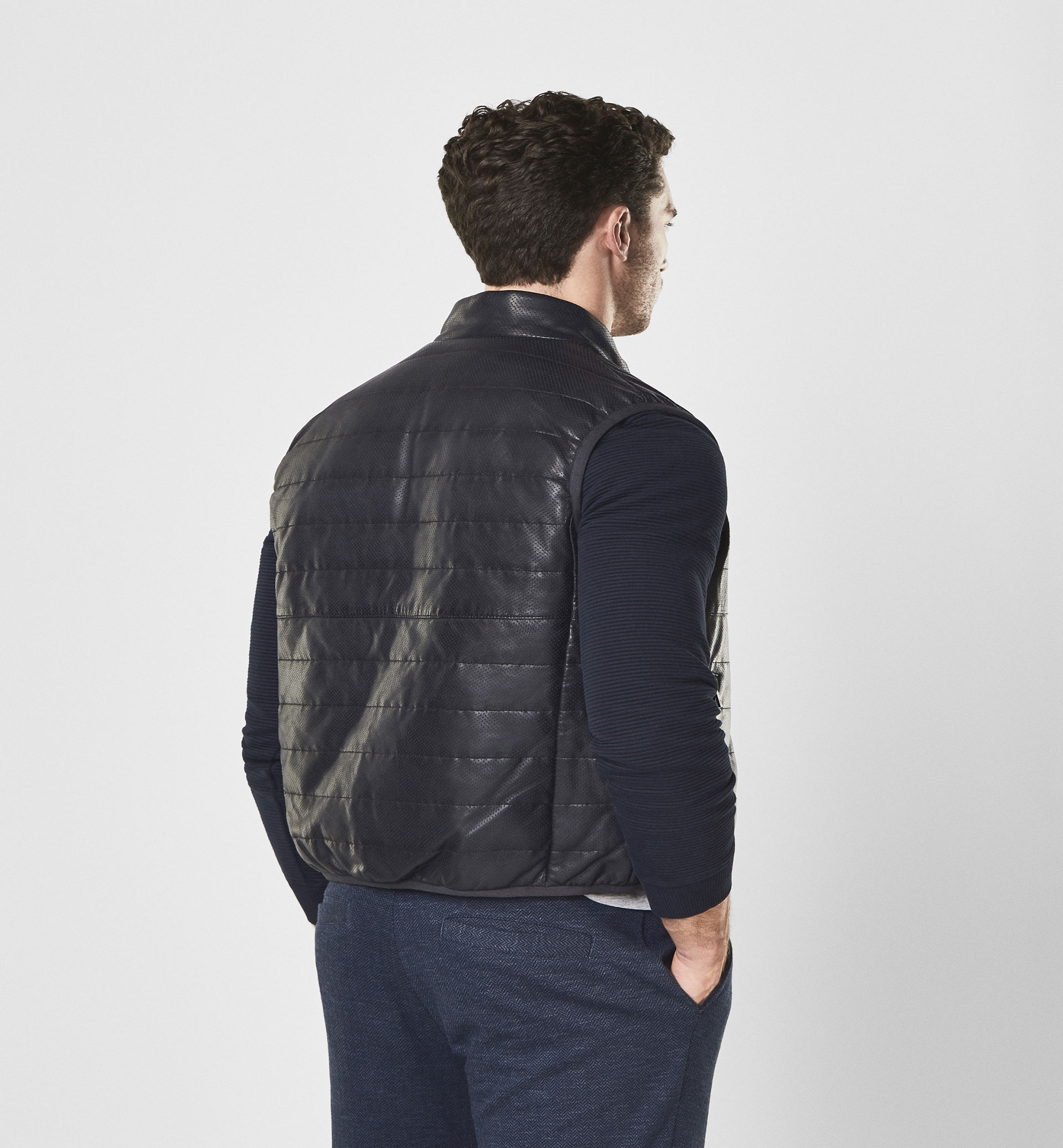 SOFT REVERSIBLE NAPPA LEATHER GILET WITH PERFORATIONS