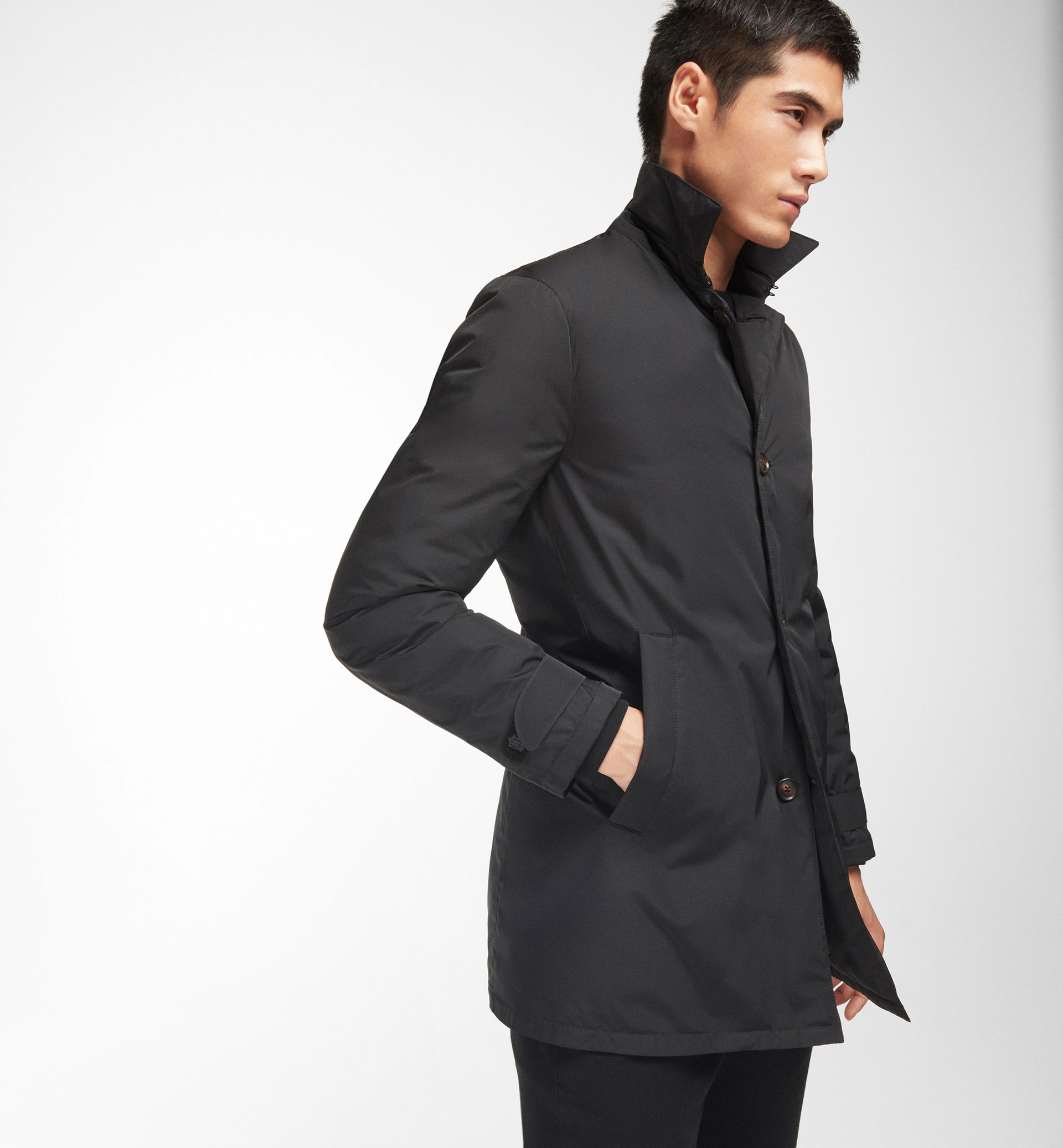 TECHNICAL BLACK TRENCH COAT