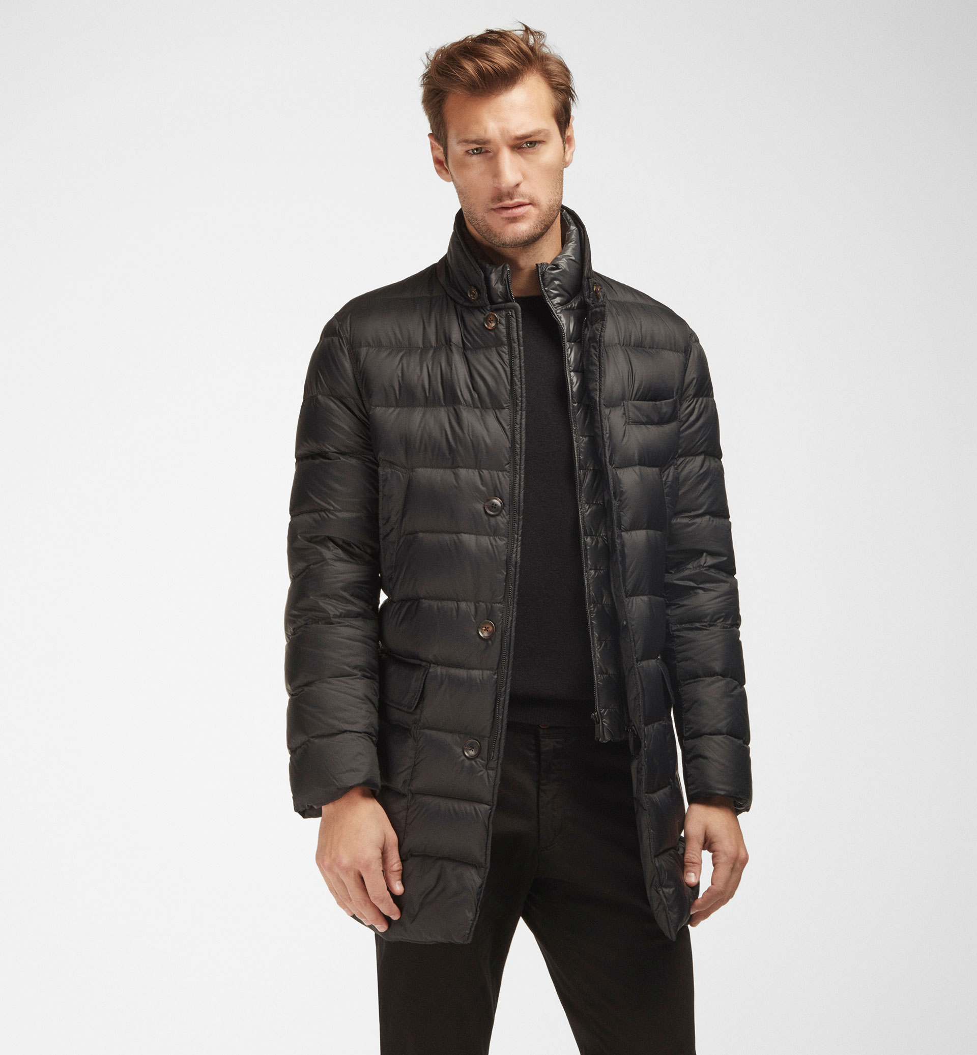 LIGHTWEIGHT QUILTED FEATHER DOWN 3/4 COAT