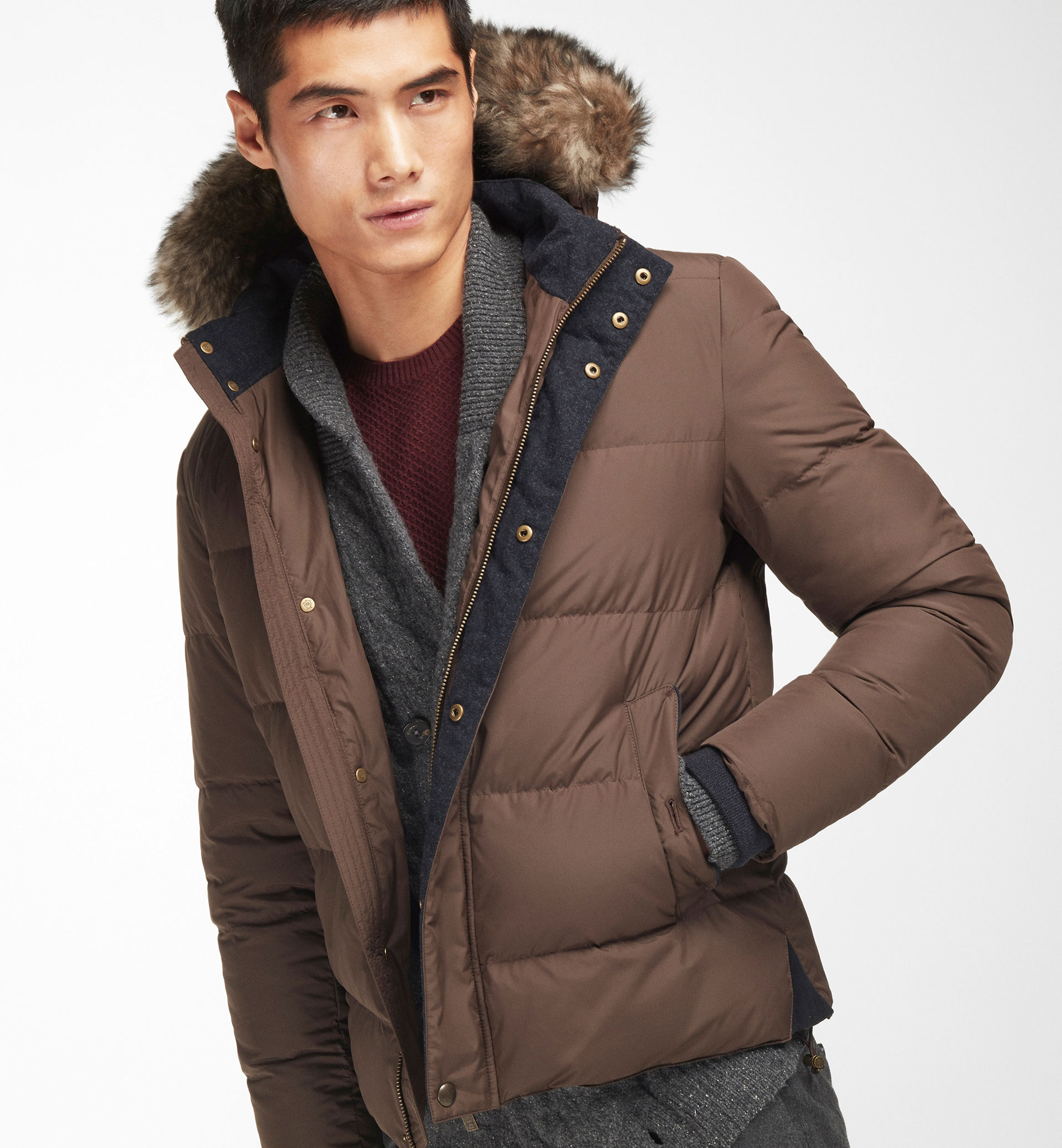 BROWN QUILTED 3/4 LENGTH COAT WITH FAUX FUR HOOD DETAIL