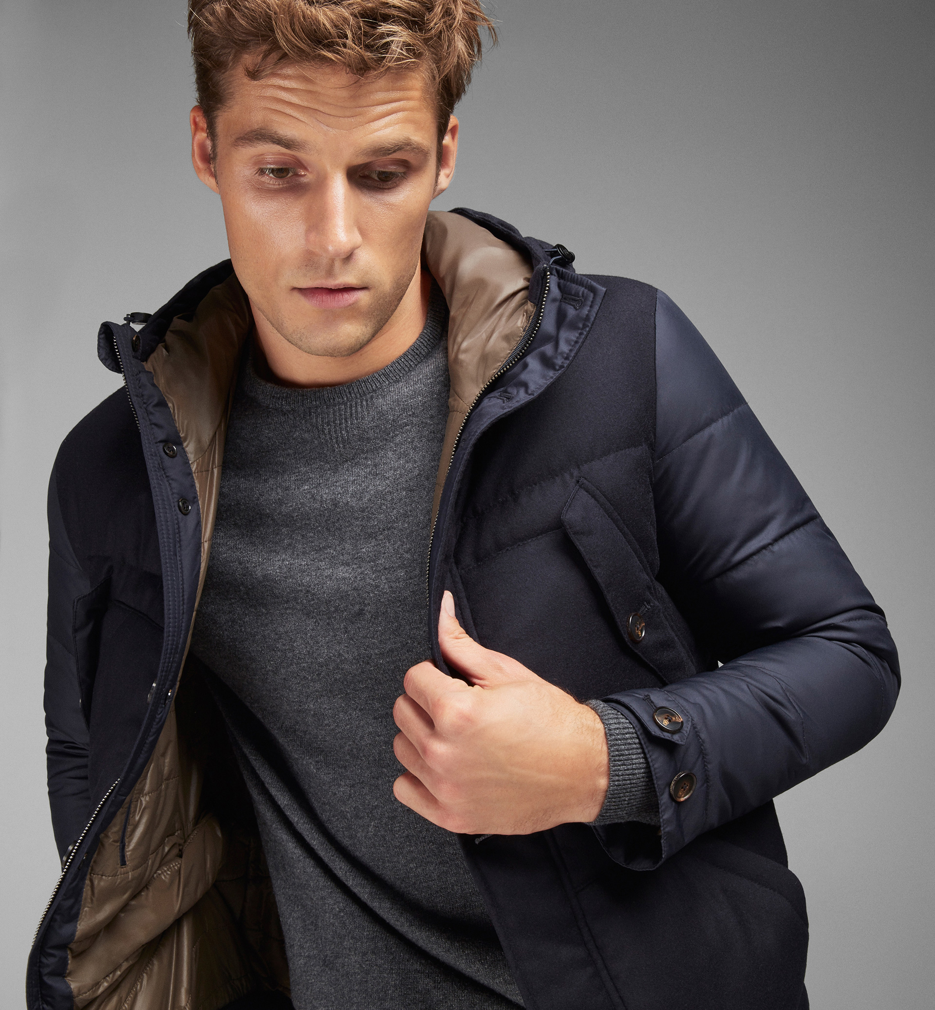 NAVY TECHNICAL AND CONTRASTING WOOL PARKA