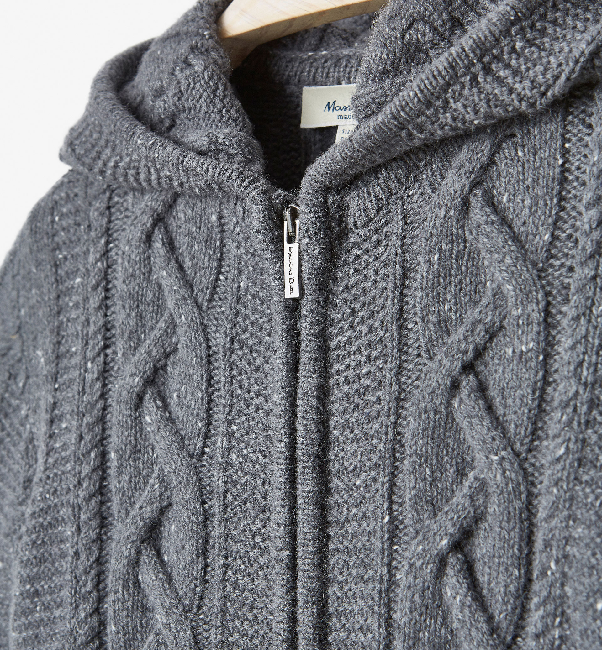 BRAIDED CARDIGAN WITH HOOD DETAIL