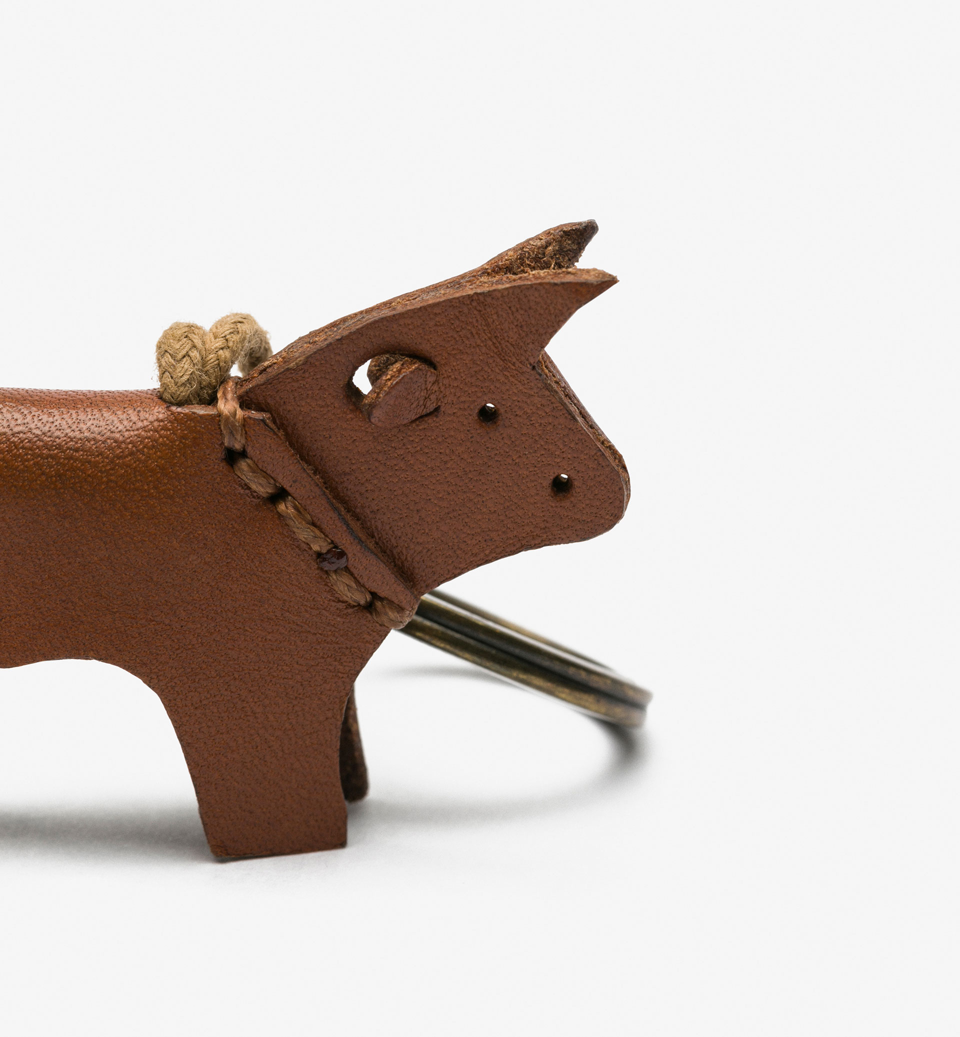 LEATHER COW KEYRING